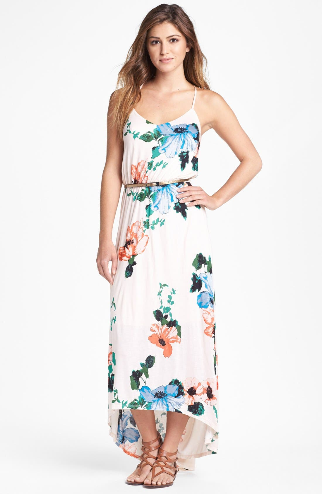 Main Image - Felicity & Coco Hawaiian Print Belted Maxi Dress (Petite) (Nordstrom Exclusive)