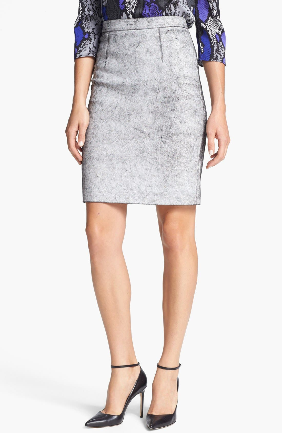 Main Image - Milly 'Edith' Leather Pencil Skirt