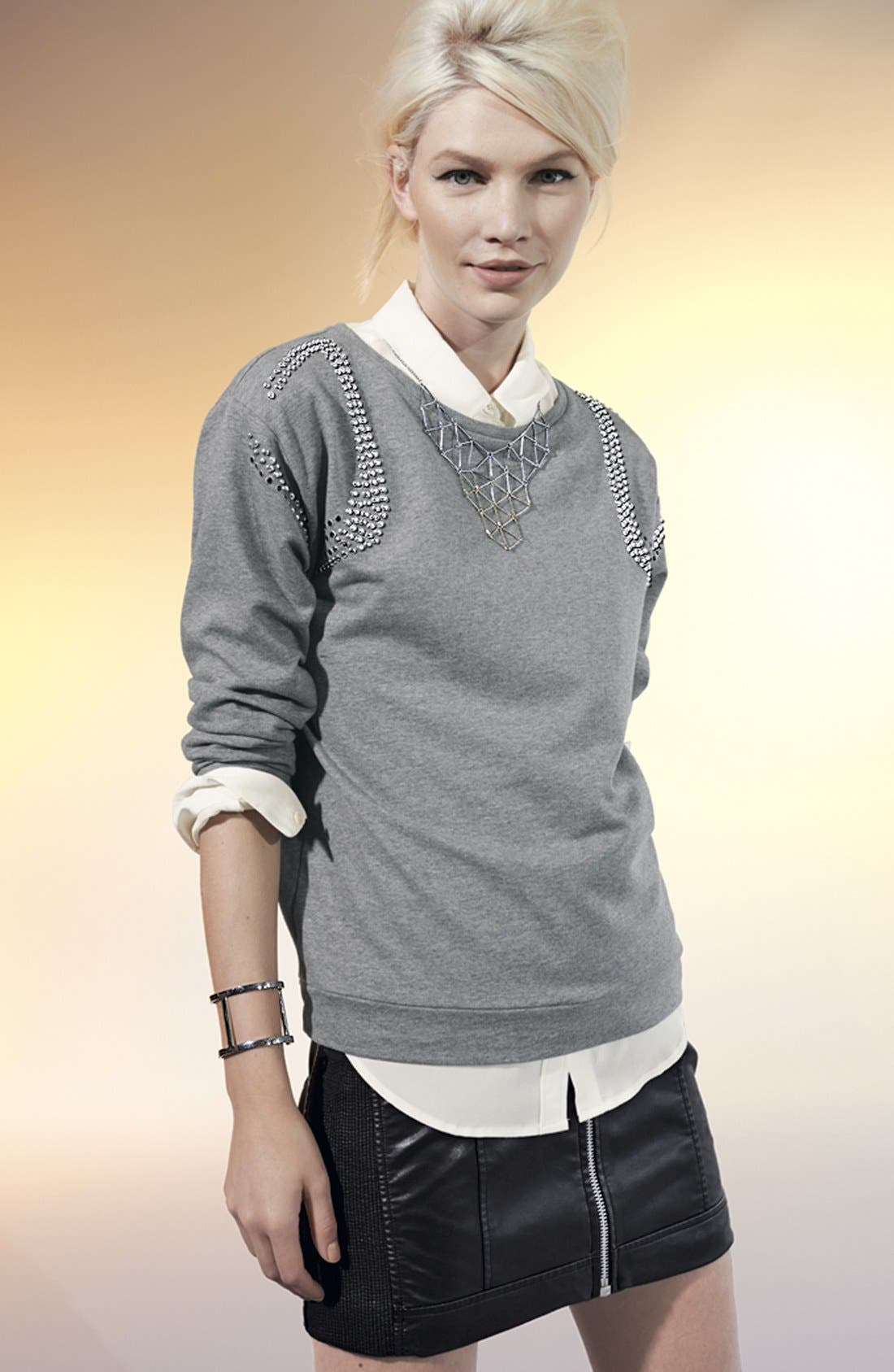 Alternate Image 4  - Two by Vince Camuto Studded Sweatshirt (Plus Size)