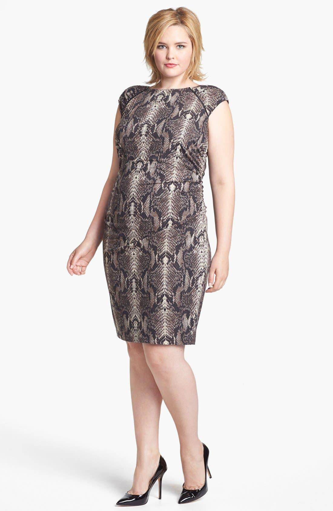 Alternate Image 1 Selected - Ivy & Blu Ruched Sheath Dress (Plus Size)