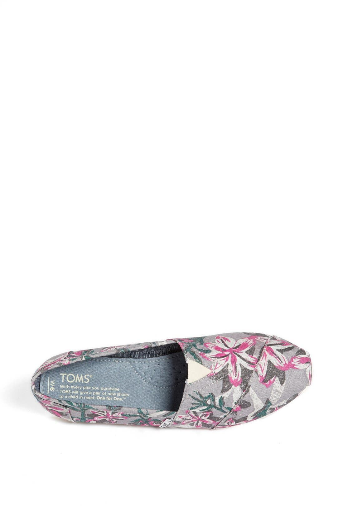Alternate Image 3  - TOMS 'Classic - Grey Floral' Vegan Slip-On (Women)