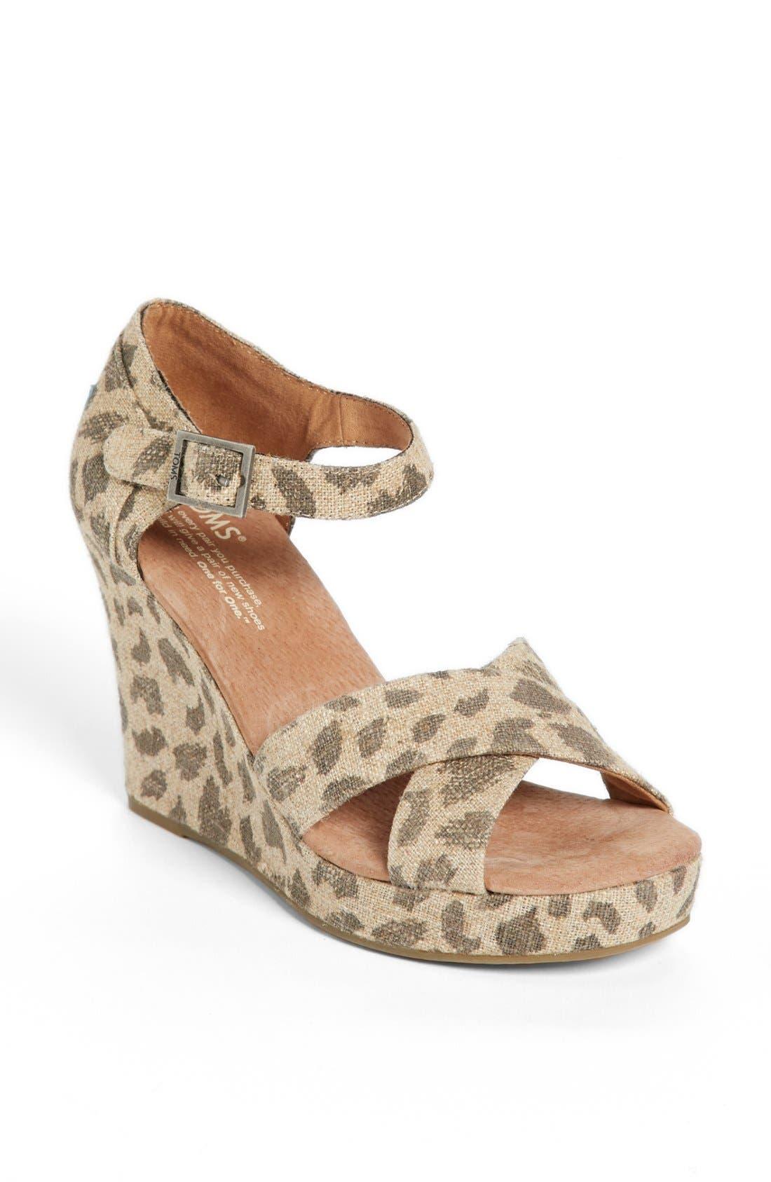 Main Image - TOMS 'Leopard' Wedge Sandal