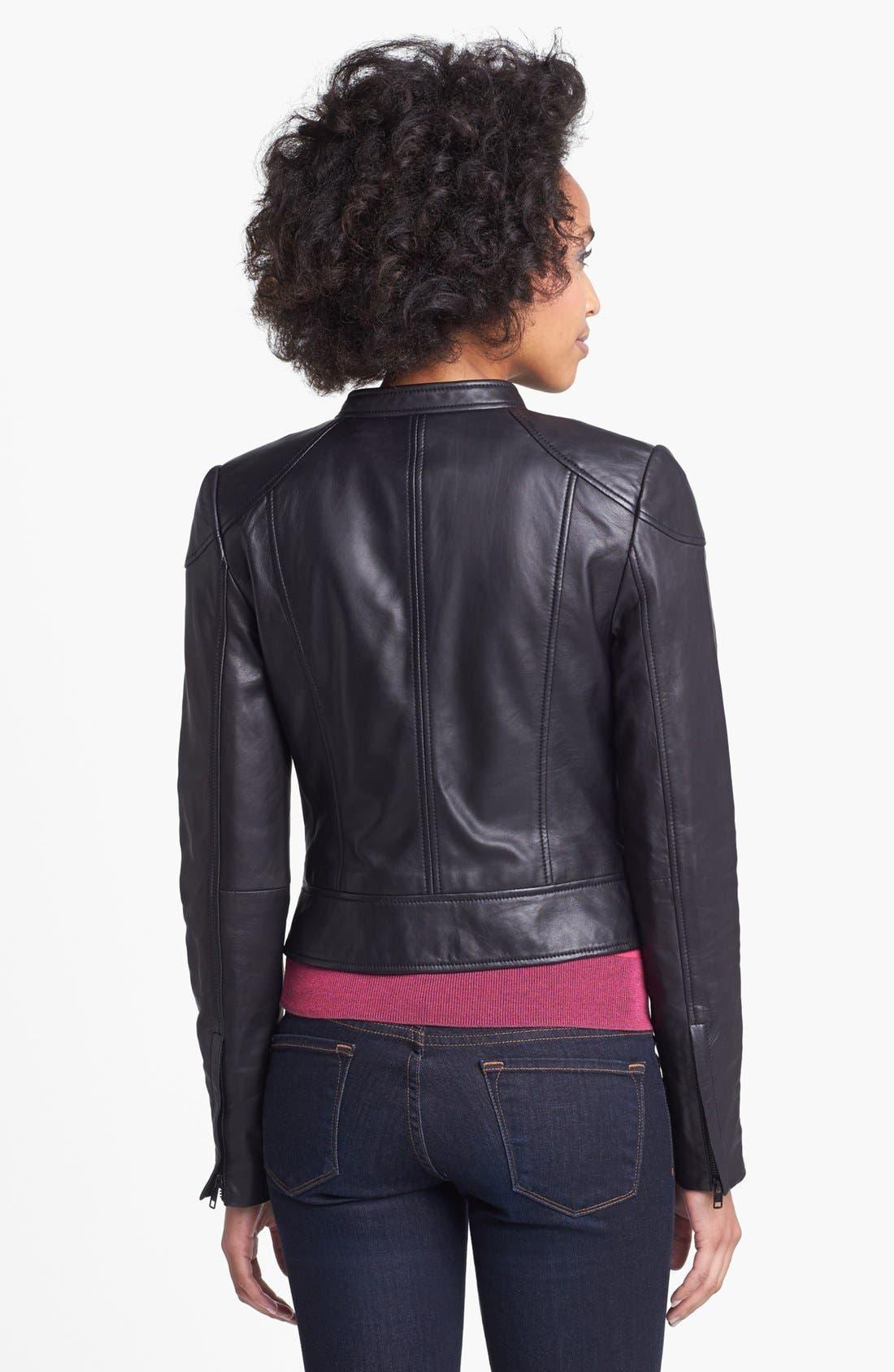 Alternate Image 2  - Halogen® Asymmetrical Two-Tone Leather Jacket