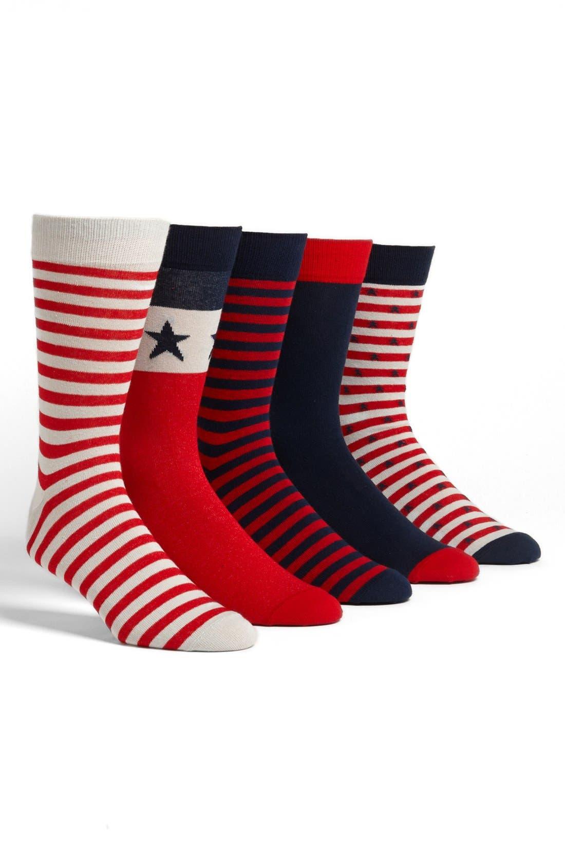 Main Image - Topman Americana Pattern Socks (Set of 5)