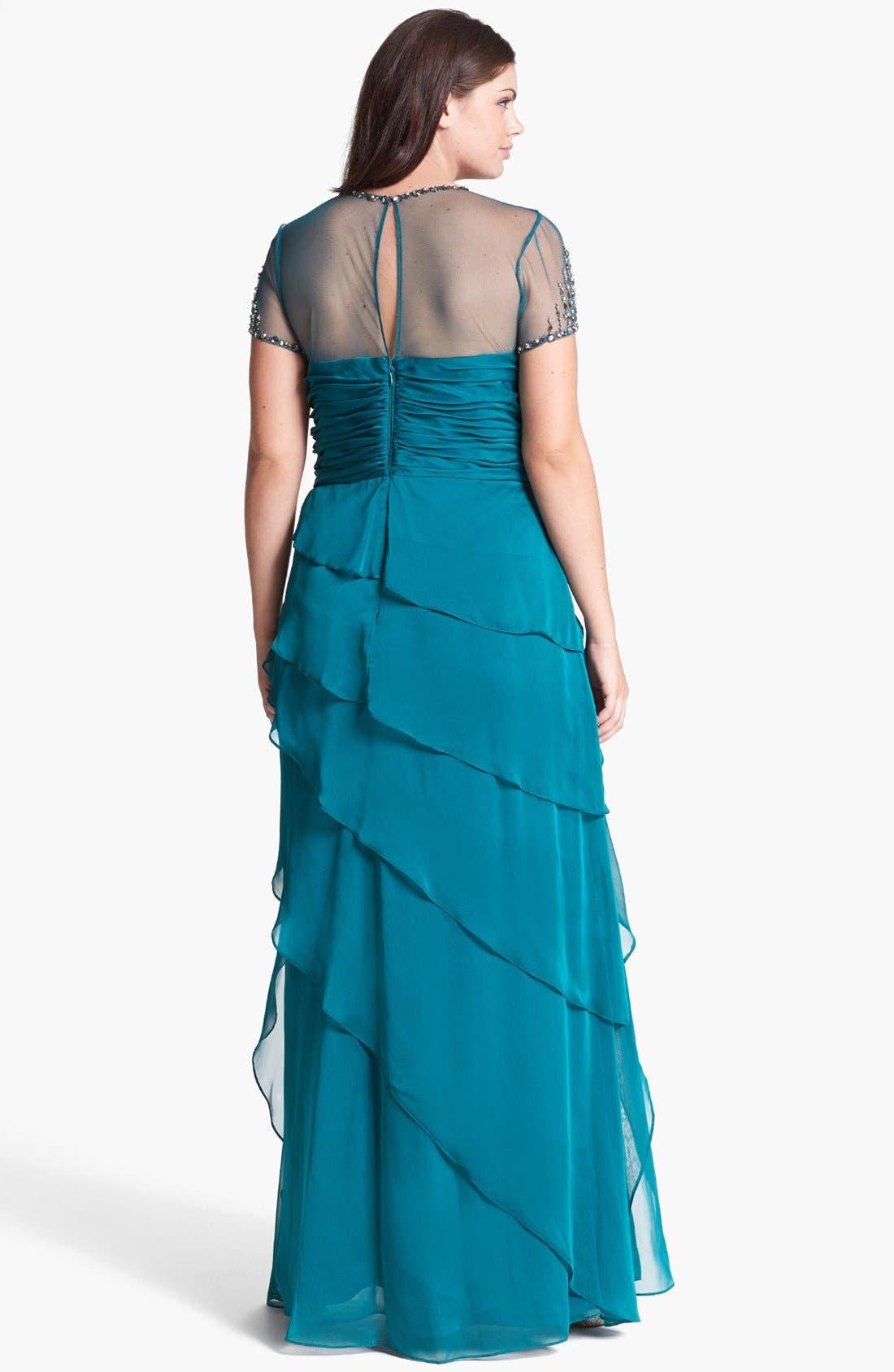 Alternate Image 2  - Adrianna Papell Embellished Yoke Ruffled Charmeuse Gown (Plus Size)