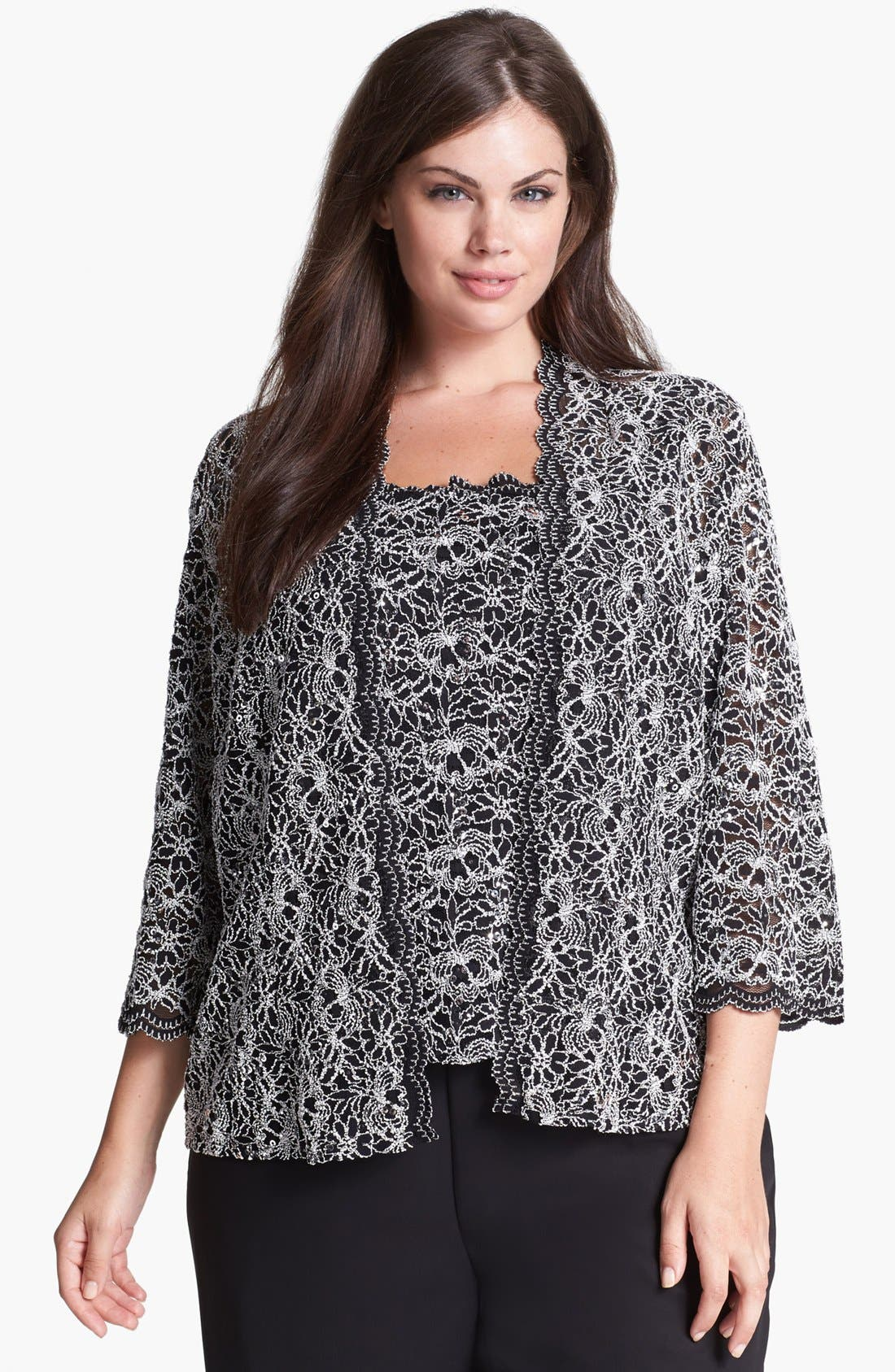 Alternate Image 1 Selected - Alex Evenings Embellished Lace Twinset (Plus Size)