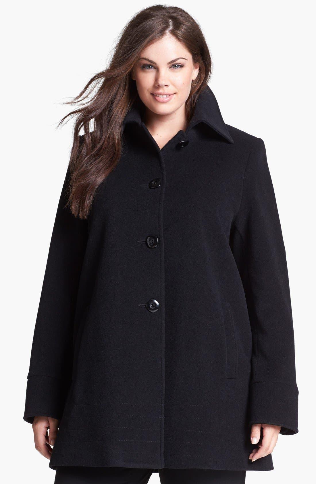 Main Image - Kristen Blake Wool Blend A-Line Coat (Plus Size)