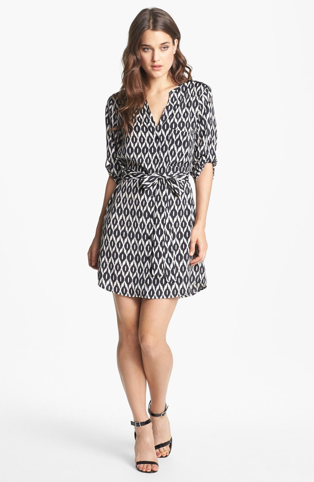Alternate Image 1 Selected - Collective Concepts Roll Sleeve Shirtdress
