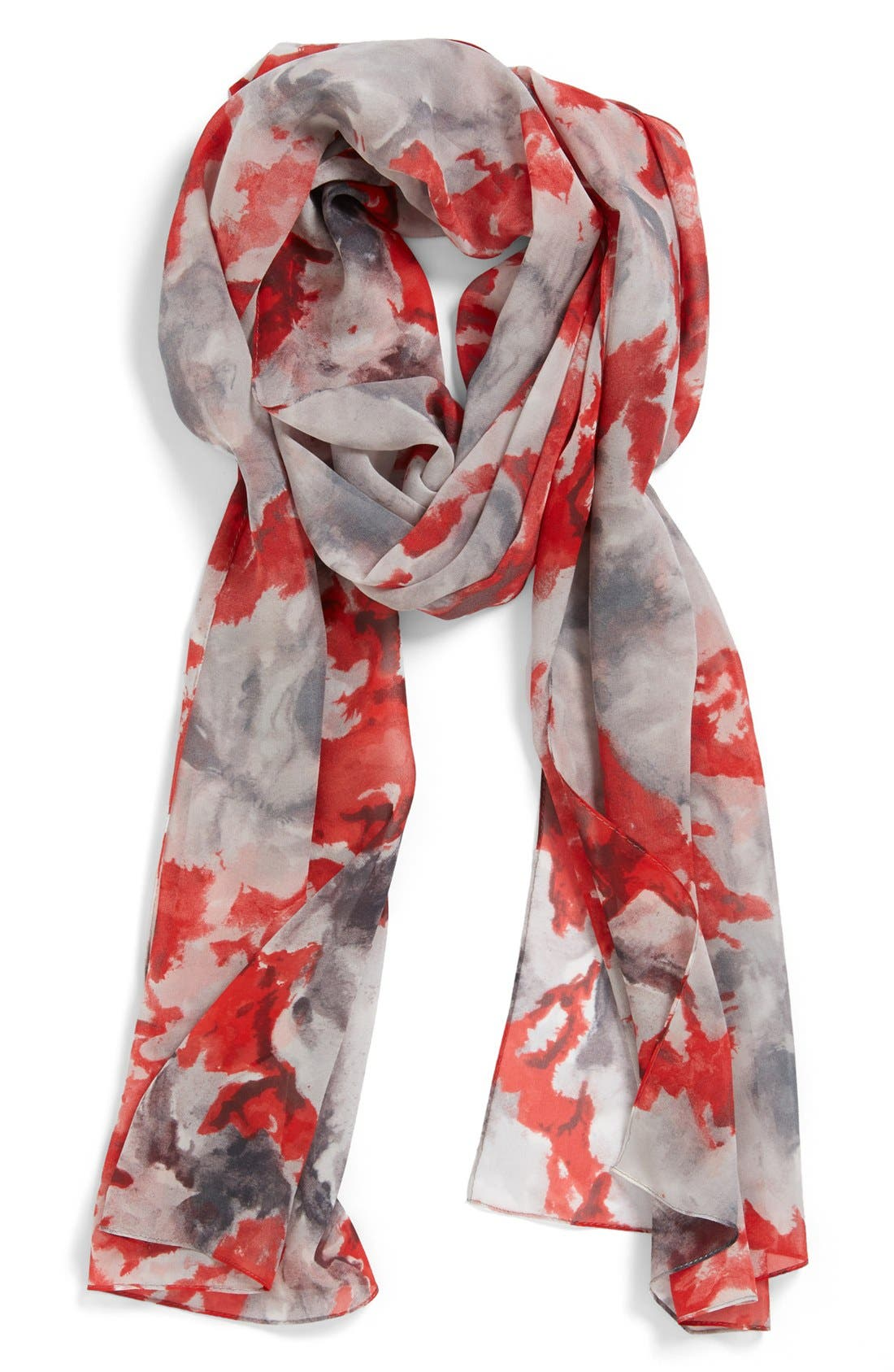 Main Image - St. John Collection Abstract Blossom Print Silk Georgette Scarf