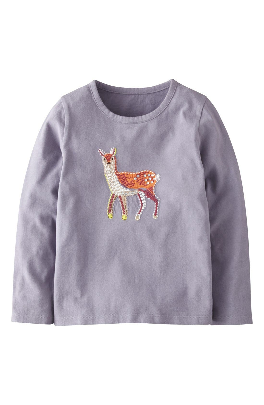 Main Image - Mini Boden 'Woodland' Appliqué Long Sleeve Tee (Toddler Girls, Little Girls & Big Girls)