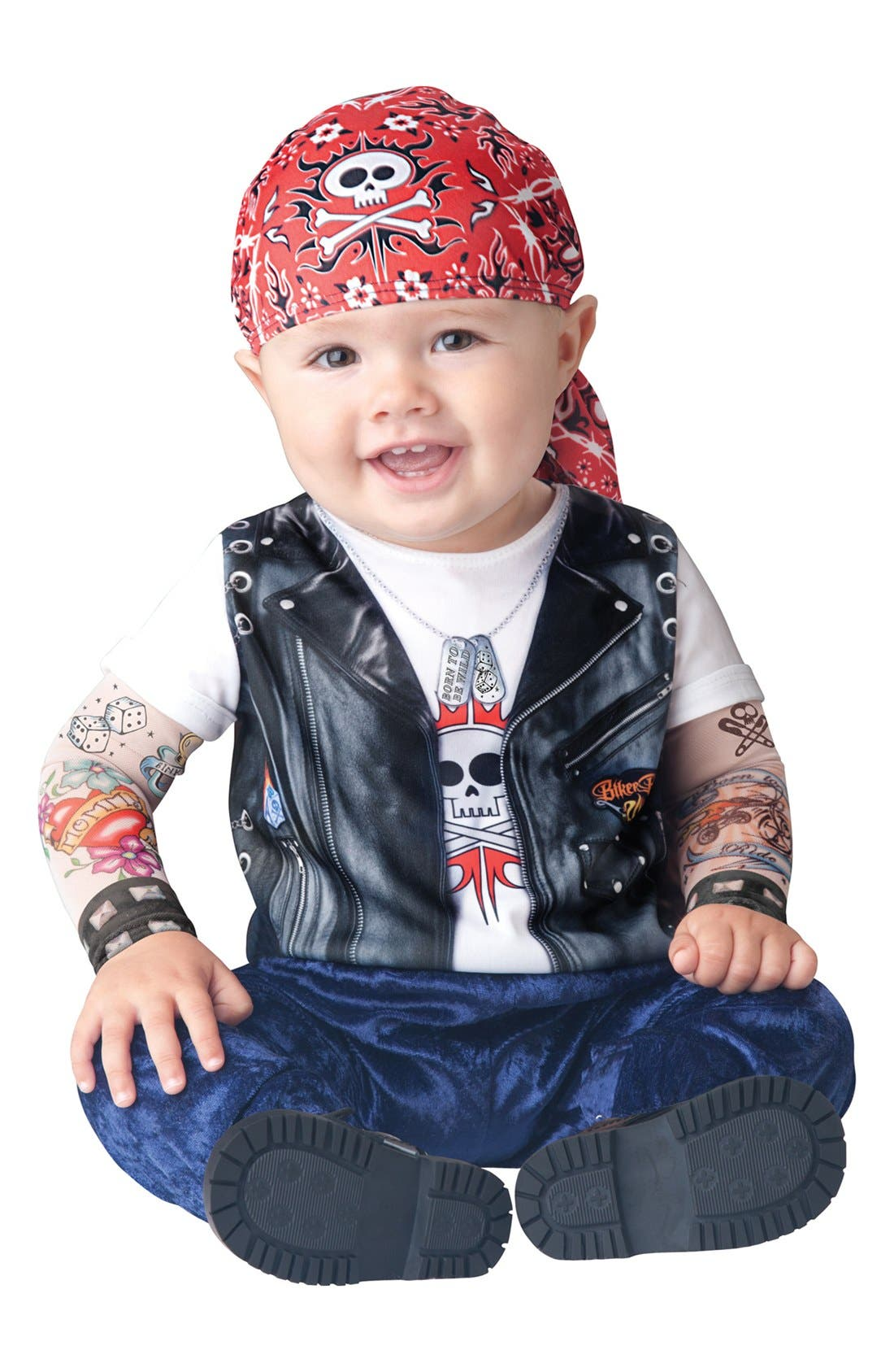 Main Image - InCharacter Costumes 'Born to be Wild' Print Romper & Kerchief (Baby Boys)