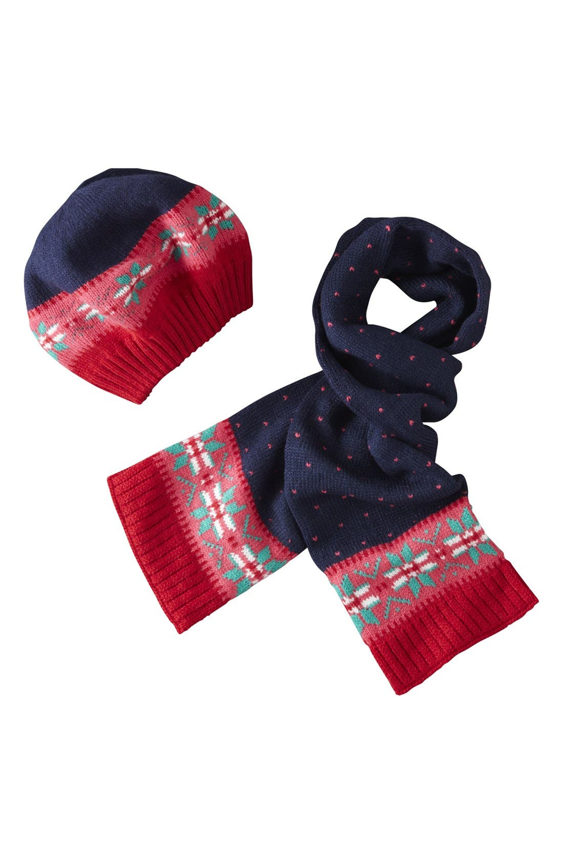 Main Image - Mini Boden Fair Isle Beret & Scarf (Toddler Girls, Little Girls & Big Girls)