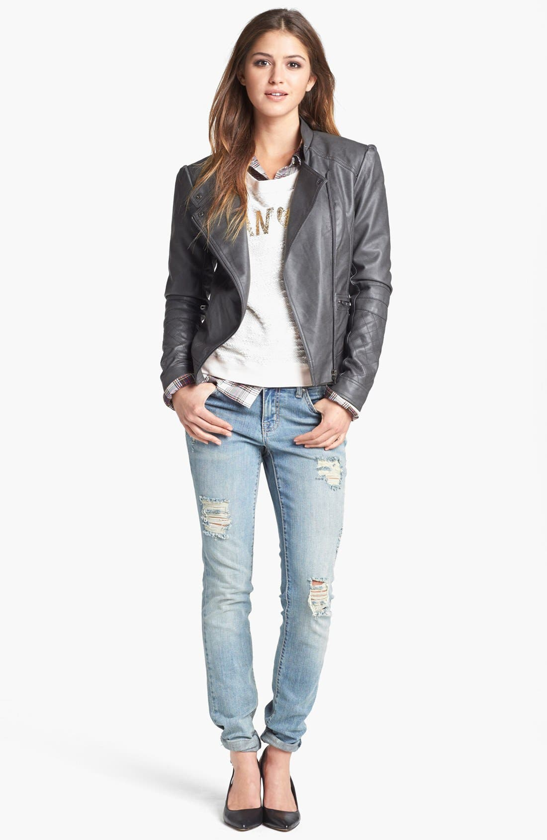 Alternate Image 6  - Jessica Simpson 'Trey' Faux Leather Moto Jacket