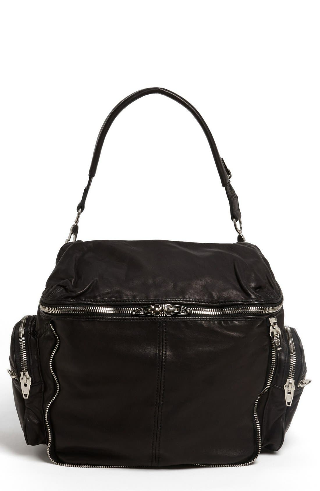 Main Image - Alexander Wang 'Jane - Nickel' Leather Shoulder Bag