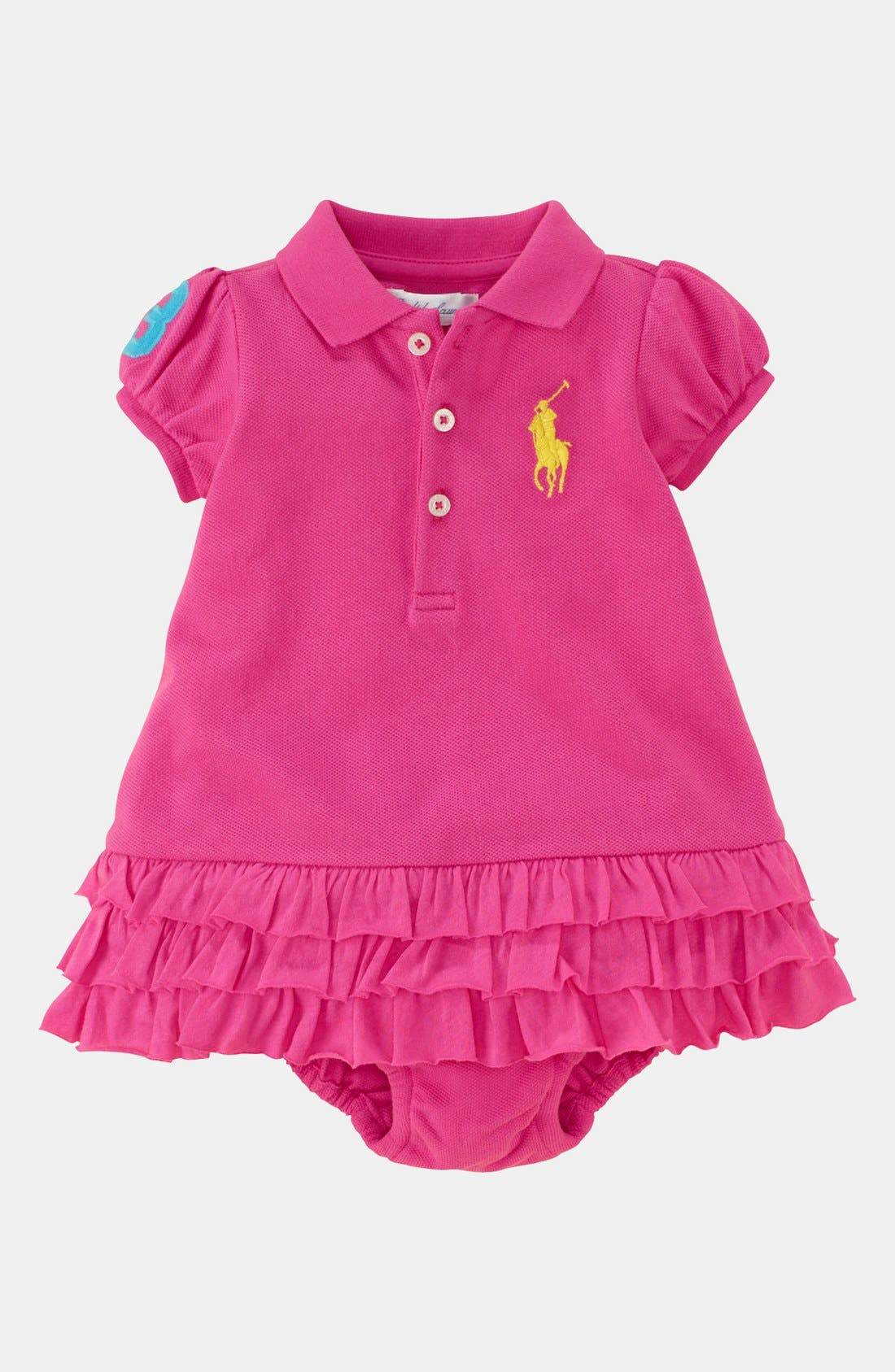 Alternate Image 1 Selected - Ralph Lauren Polo Dress & Bloomers (Baby)