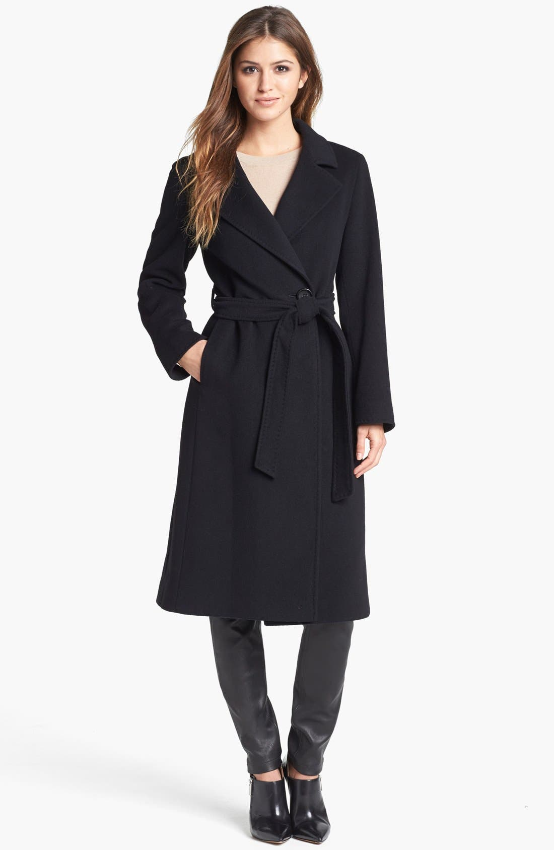 Alternate Image 1 Selected - Cinzia Rocca Due Notch Collar Wool Blend Long Wrap Coat