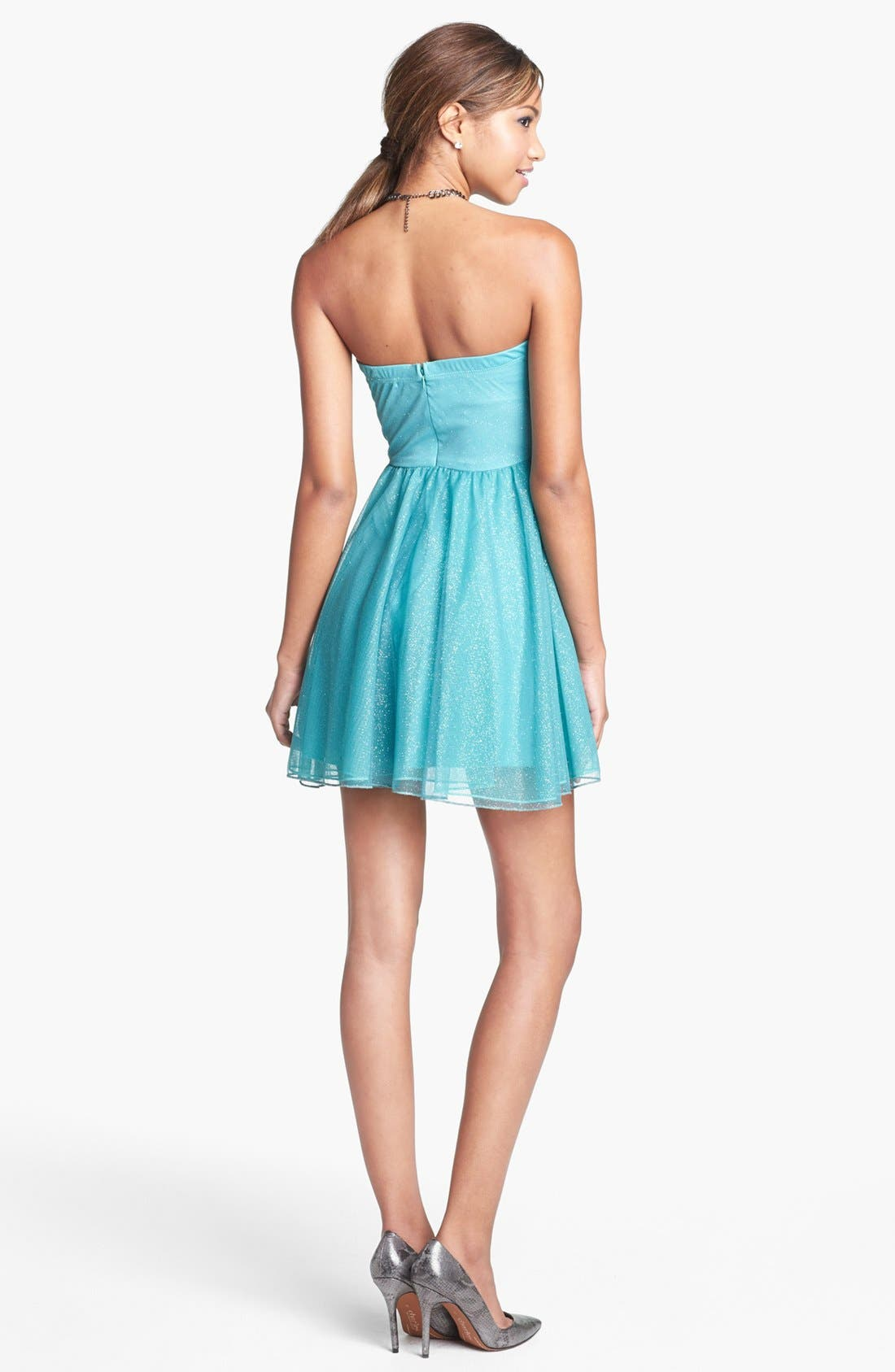 Alternate Image 2  - Trixxi Strapless Ruched Party Dress (Juniors) (Online Only)