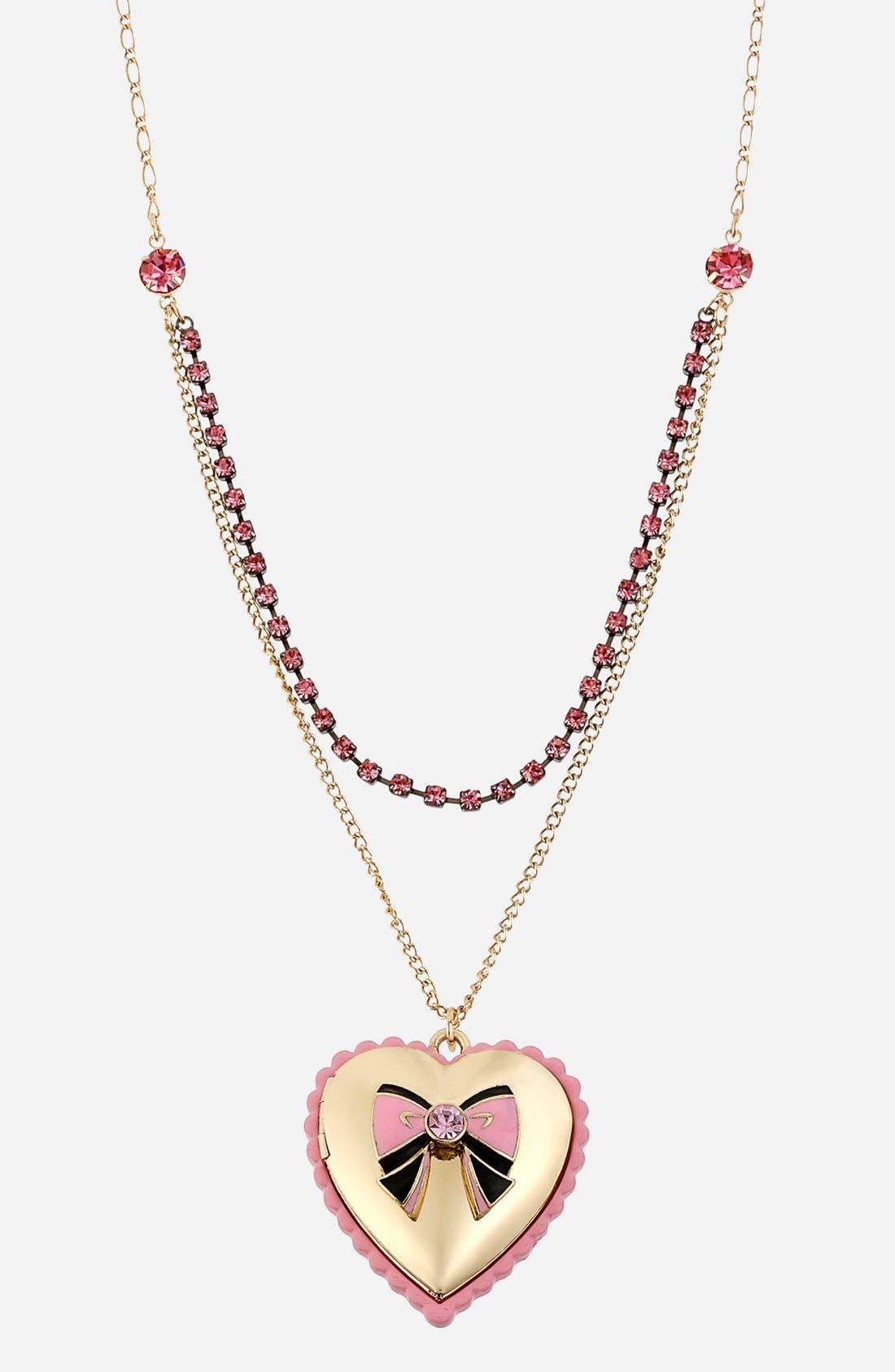 Main Image - Betsey Johnson 'Paris' Heart & Bow Pendant Necklace