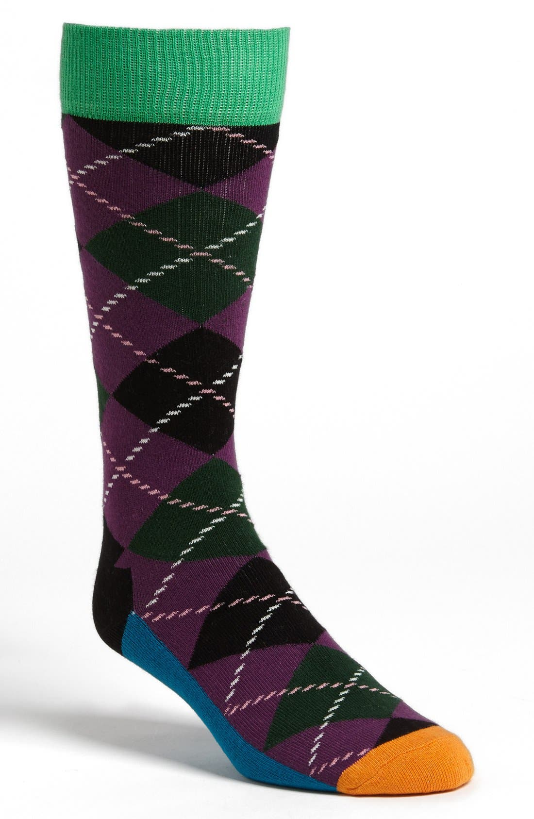 Main Image - Happy Socks Argyle Patterned Combed Cotton Blend Socks