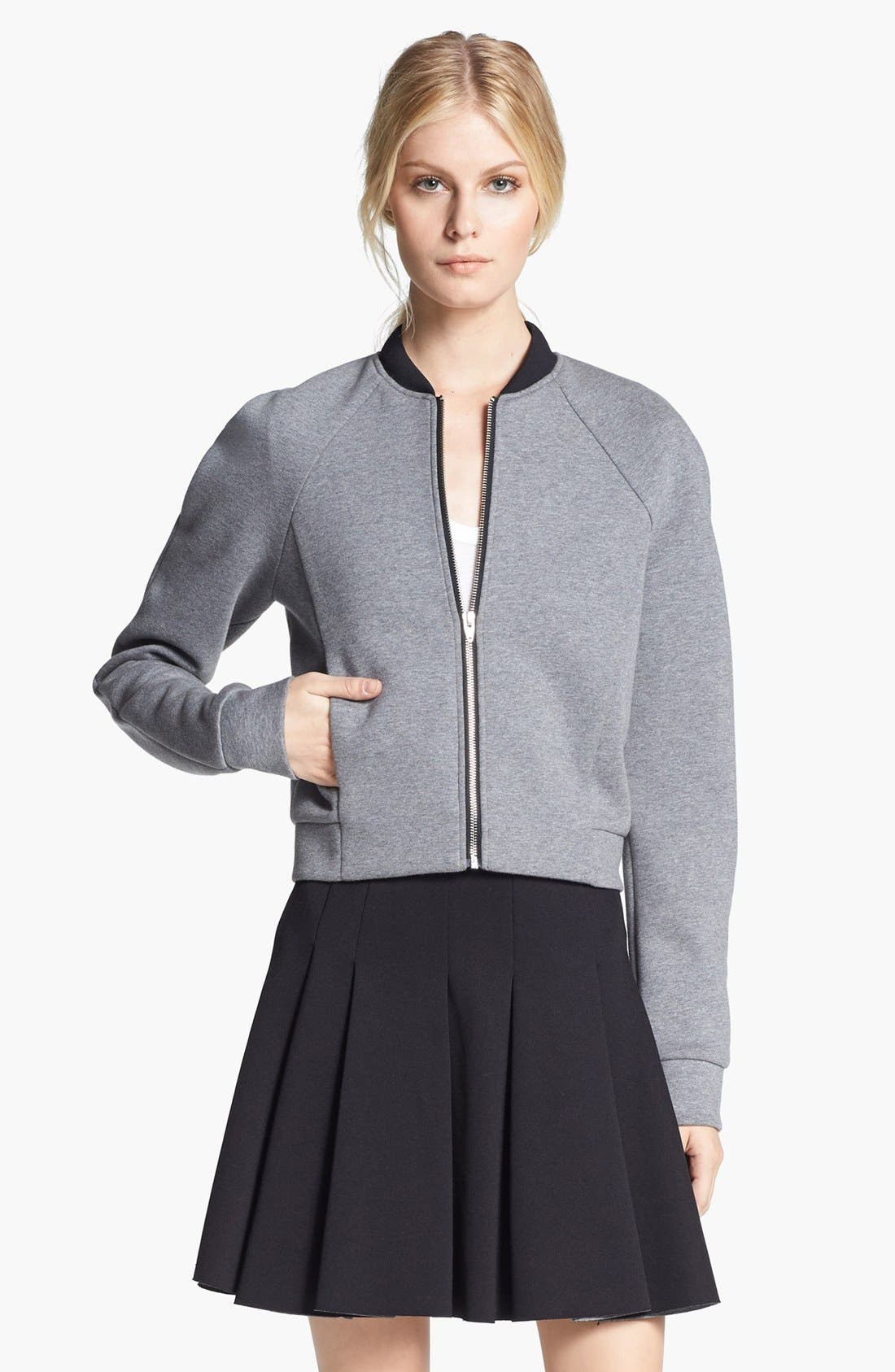 Alternate Image 1 Selected - T by Alexander Wang Bonded Jersey & Neoprene Bomber Jacket