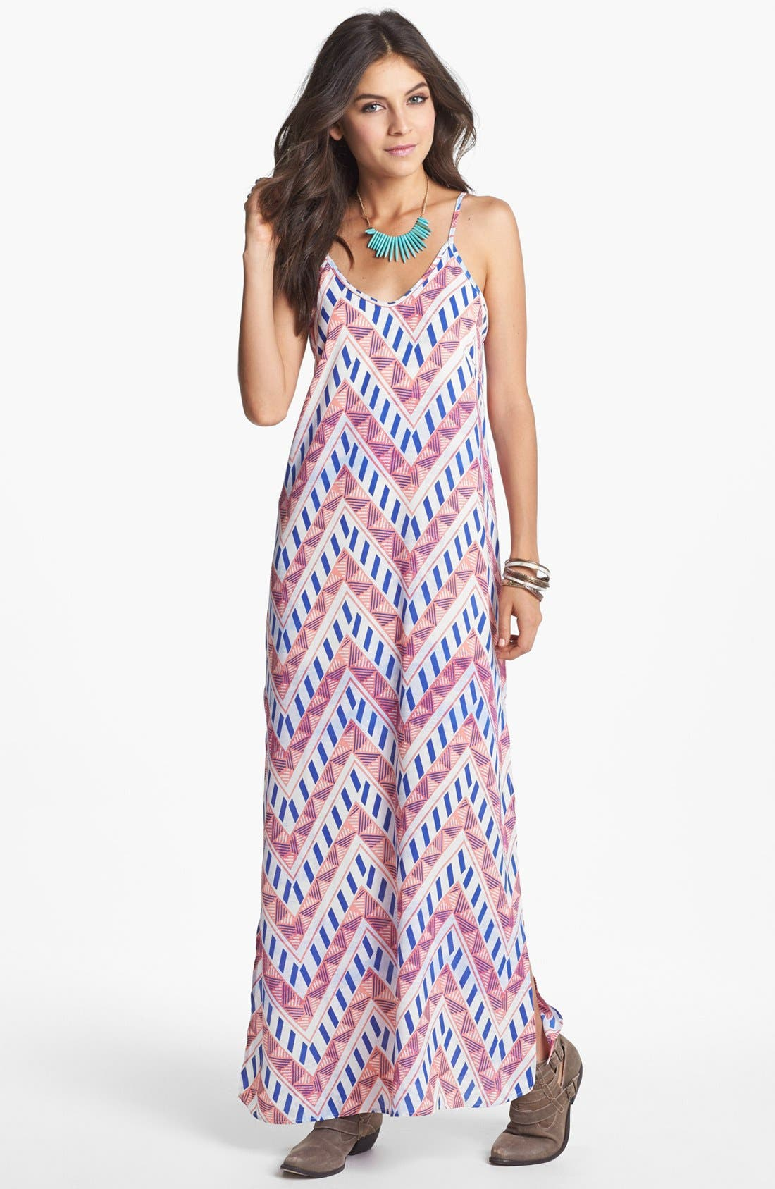 Main Image - Lush Back Cutout Print Maxi Dress (Juniors)