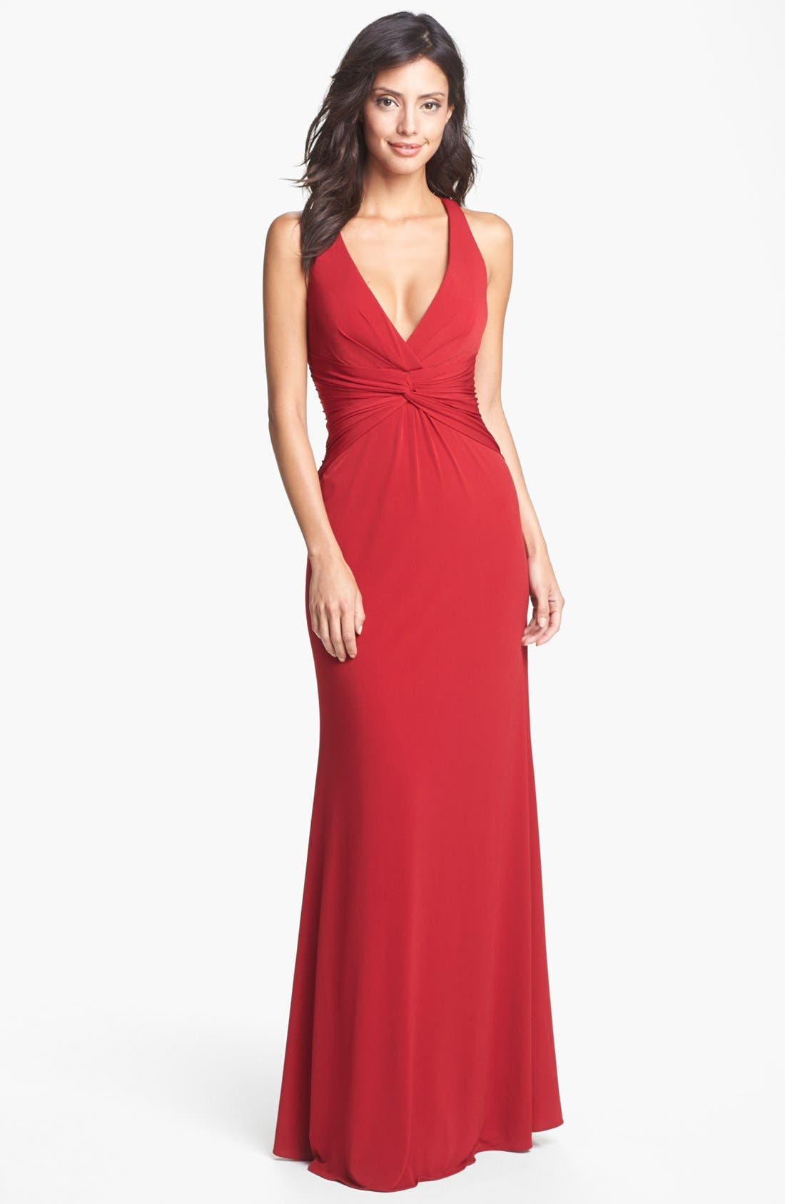 Alternate Image 1 Selected - Laundry by Shelli Segal Knotted Jersey Cross Back Gown