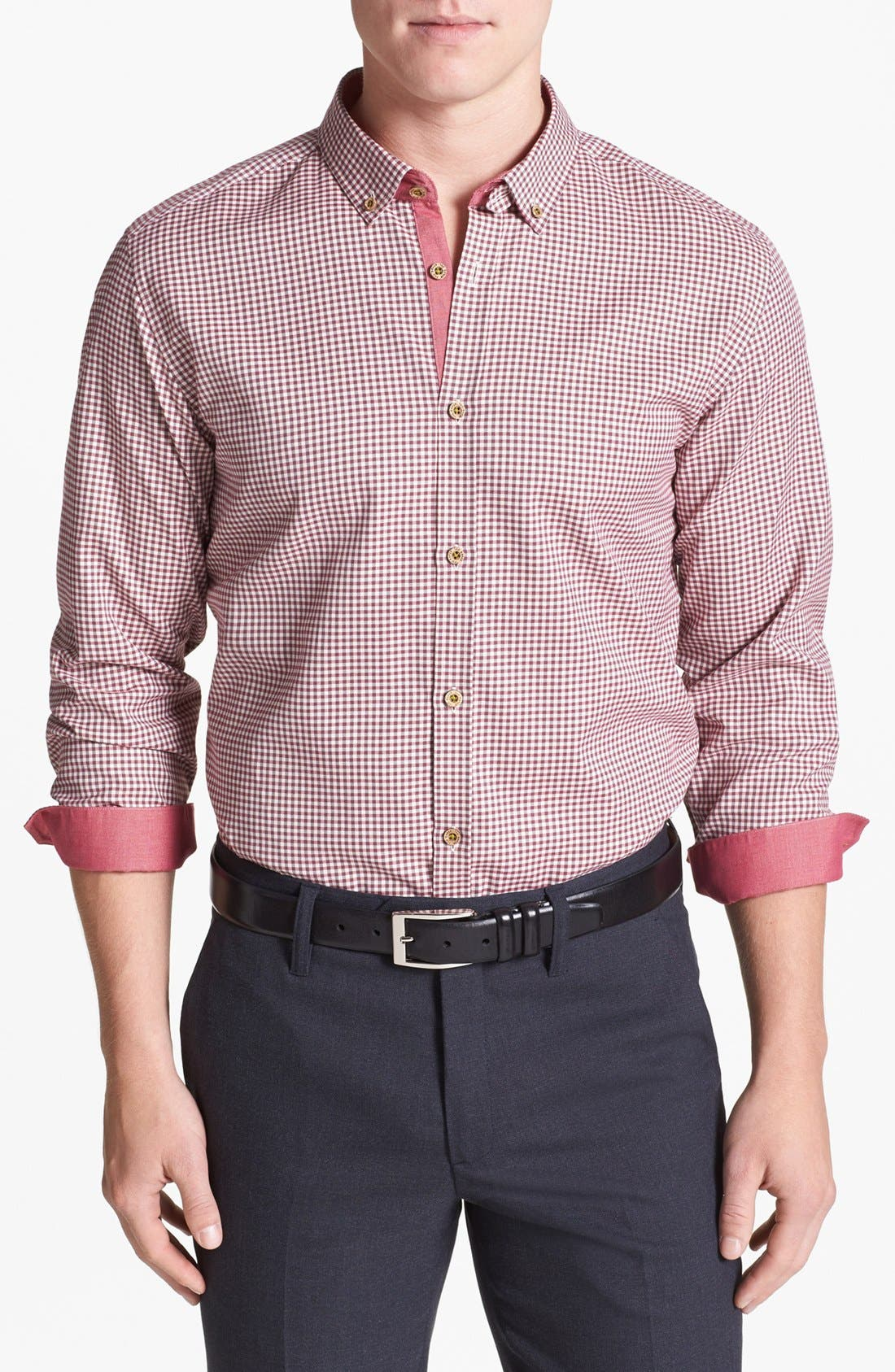 Alternate Image 1 Selected - Ted Baker London 'Flannew' Flannel Trim Sport Shirt