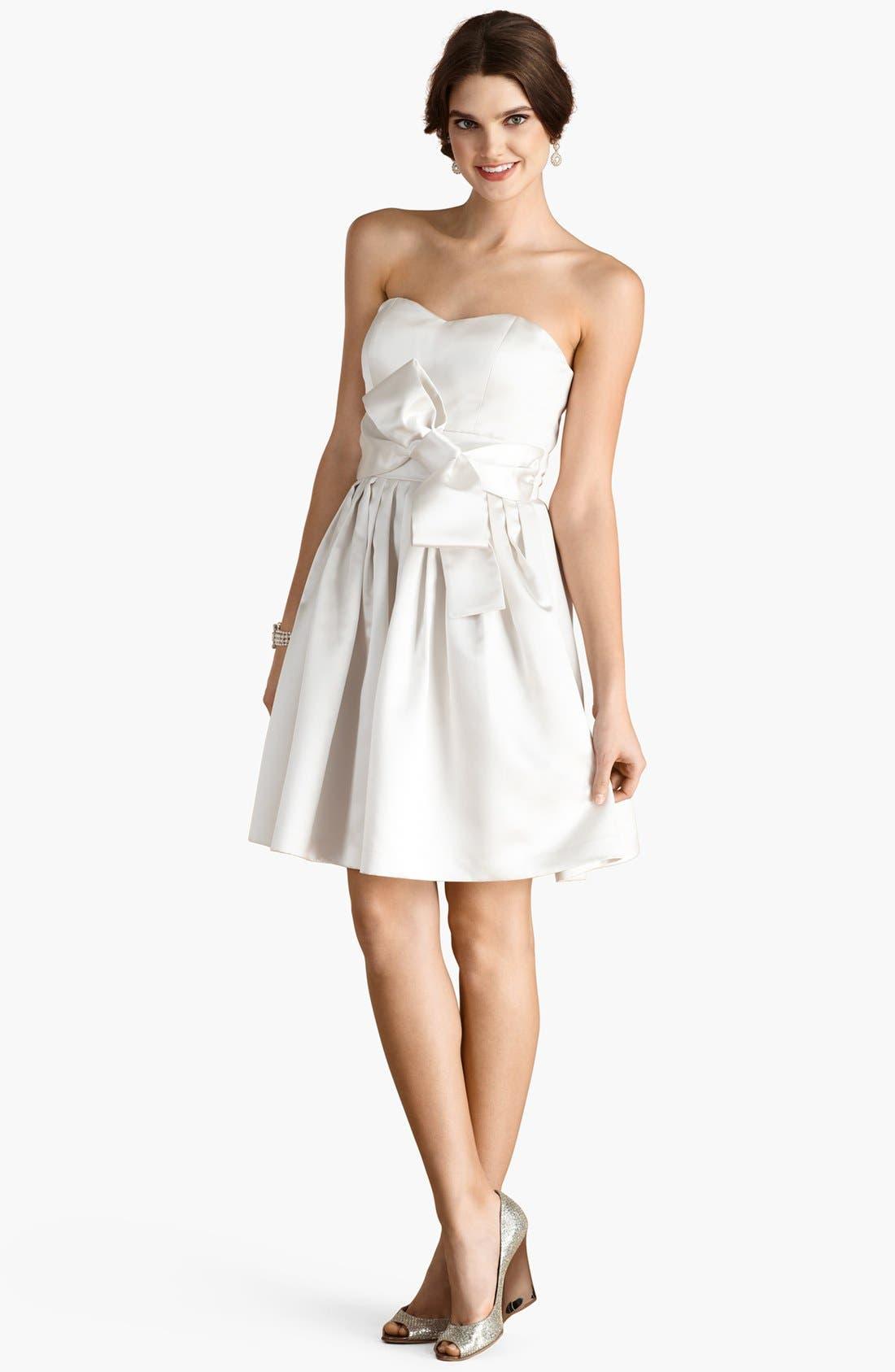 Alternate Image 2  - Donna Morgan 'Samantha' Belted Satin Fit & Flare Dress (Online Only)