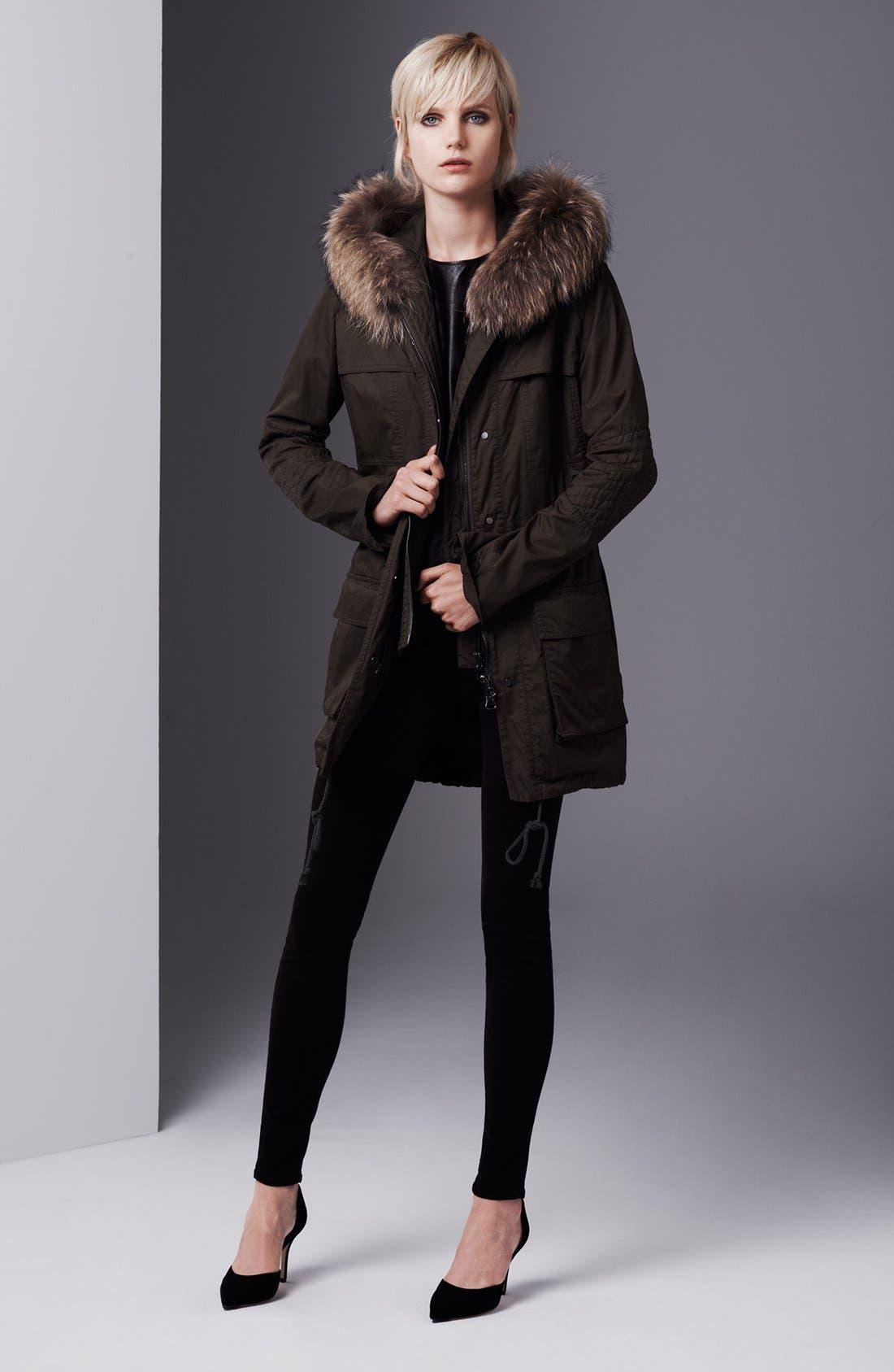 Alternate Image 1 Selected - Vince Genuine Coyote Fur Trim Anorak, Leather Tee & Jeans
