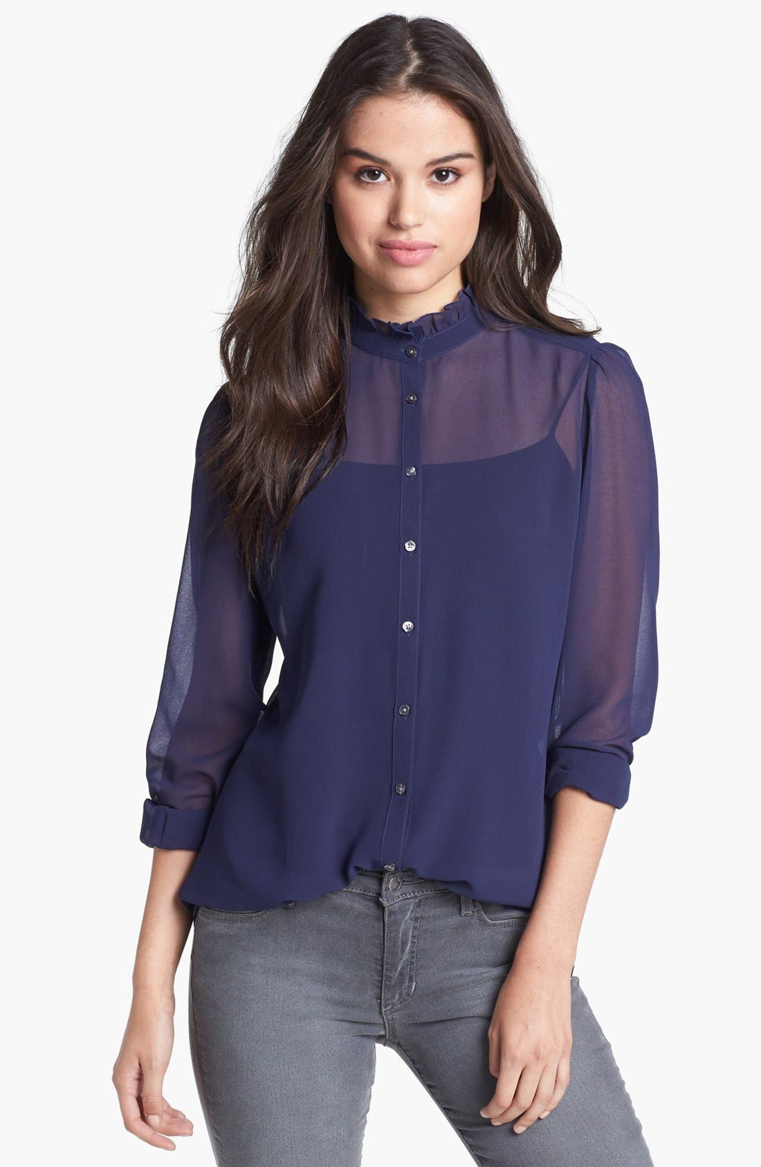 Alternate Image 1 Selected - Halogen® Ruffle Collar Chiffon Blouse (Regular & Petite)