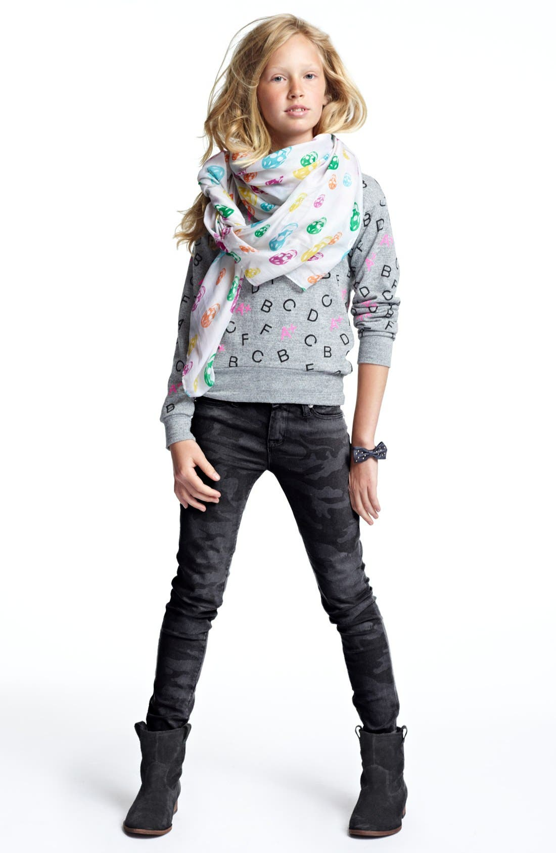 Alternate Image 2  - Modern Lux Alphabet Print Sweater (Big Girls)