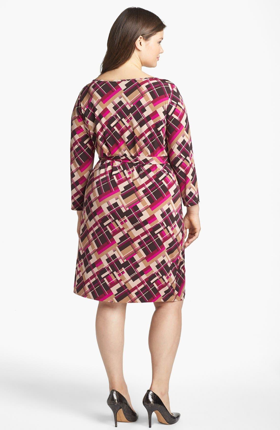 Alternate Image 2  - Anne Klein Print Jersey Faux Wrap Dress (Plus Size)