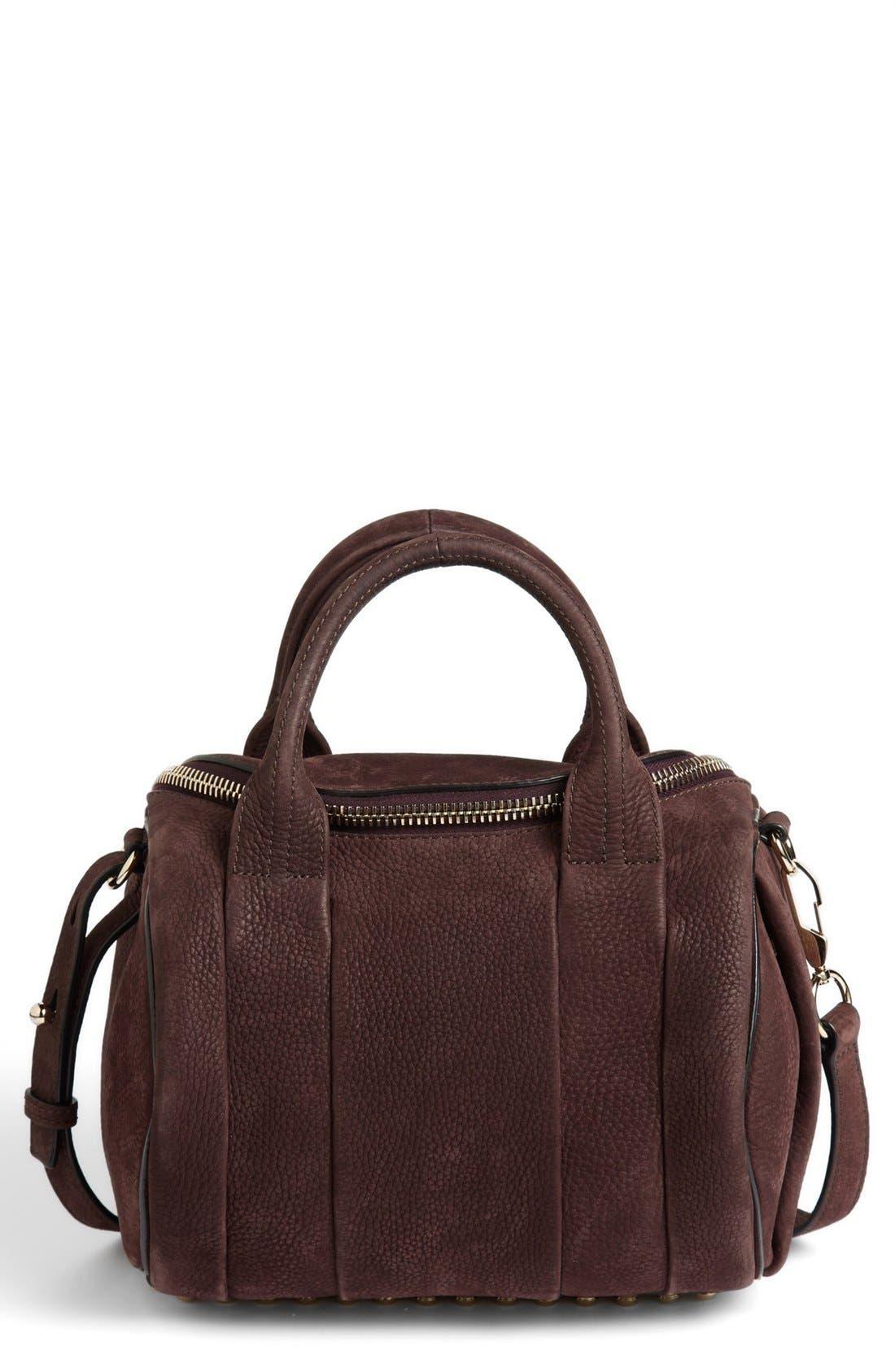 Alternate Image 1 Selected - Alexander Wang 'Rockie - Pale Gold' Nubuck Leather Crossbody Bag