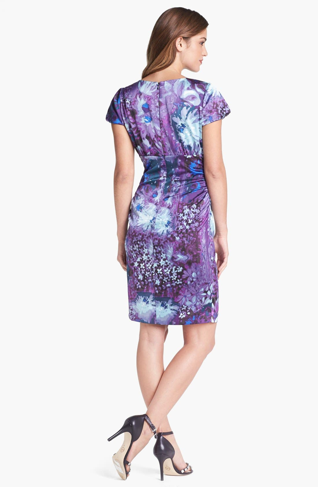Alternate Image 2  - Ivy & Blu Print Satin Sheath Dress (Petite)