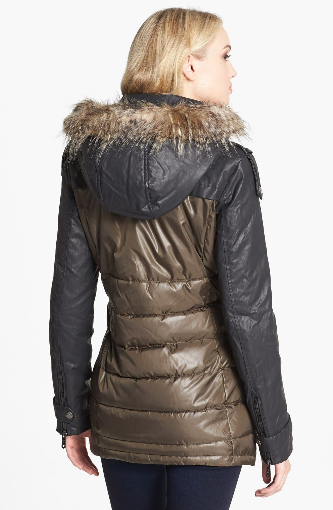 Alternate Image 2  - Circus by Sam Edelman Faux Leather Sleeve Quilted Coat