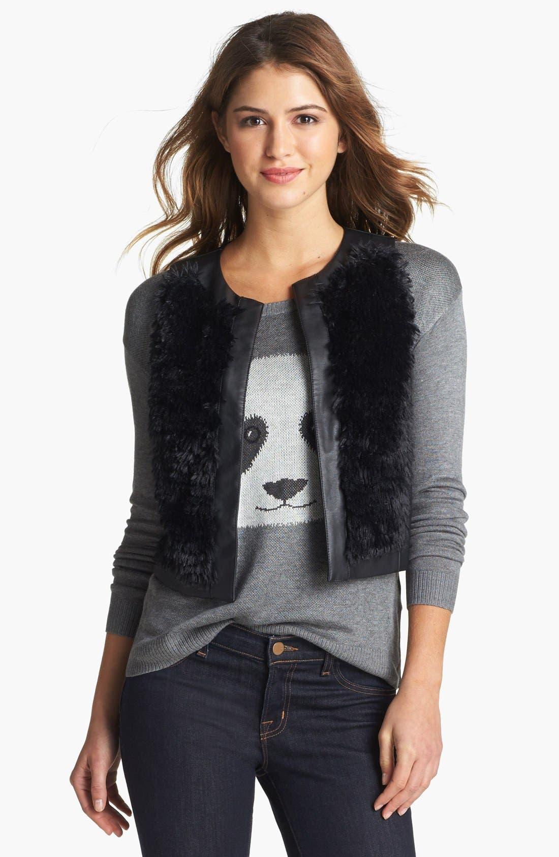 Main Image - kensie Faux Fur & Faux Leather Vest