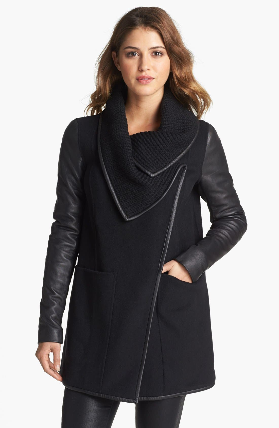 Main Image - Mackage 'Cornelia' Leather Sleeve Coat