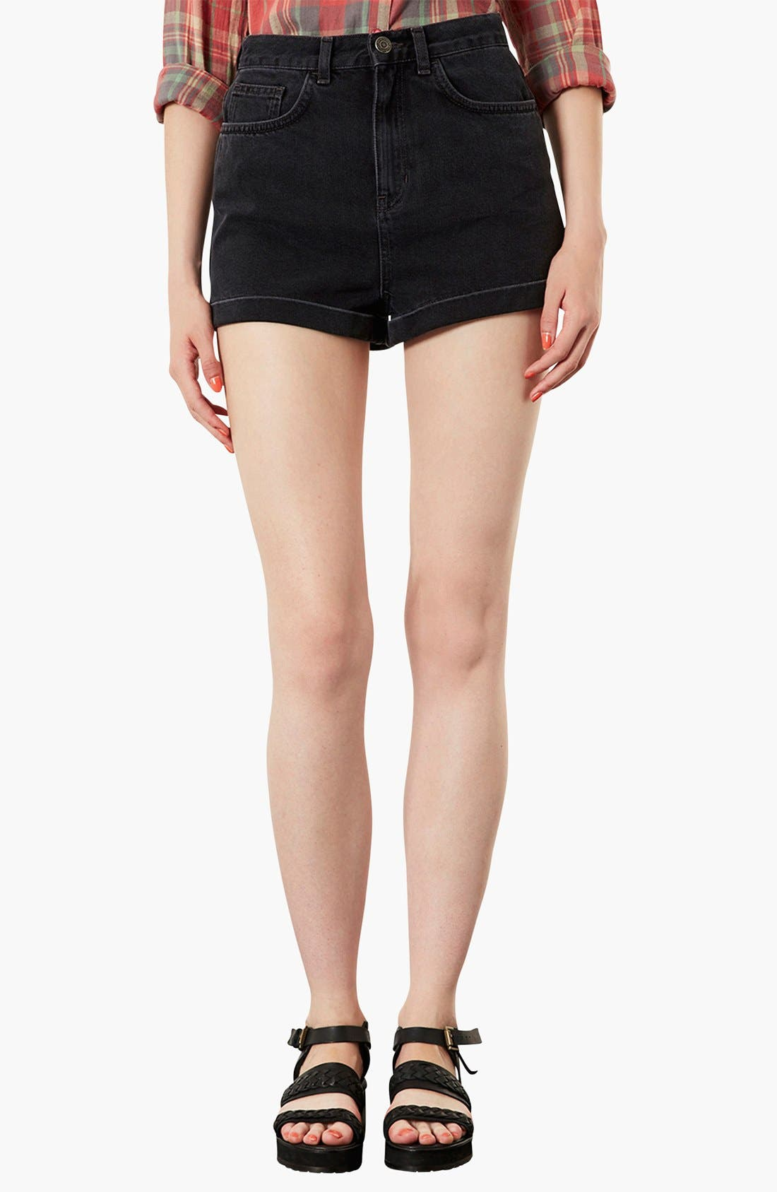 Main Image - Topshop Moto 'Mom' High Rise Denim Shorts (Black)