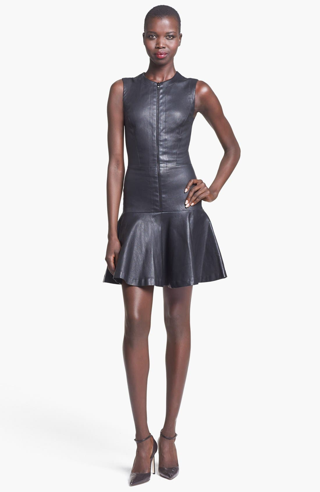 Alternate Image 1 Selected - Robert Rodriguez Fitted Stretch Leather Dress