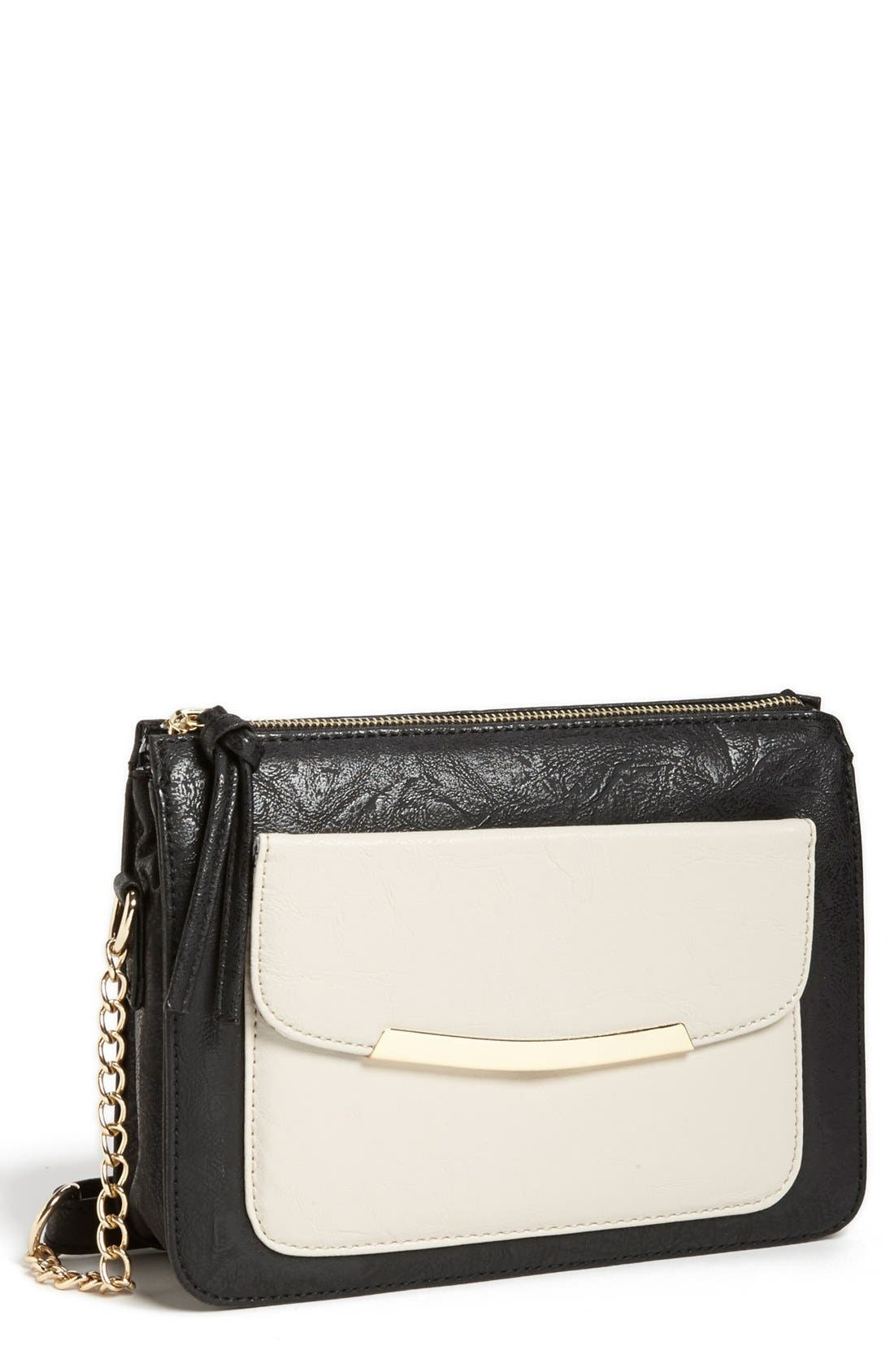 Alternate Image 1 Selected - Cesca Faux Leather Crossbody Bag (Juniors) (Online Only)