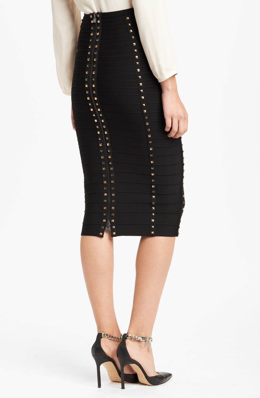 Alternate Image 2  - Herve Leger Gold Stud Pencil Skirt