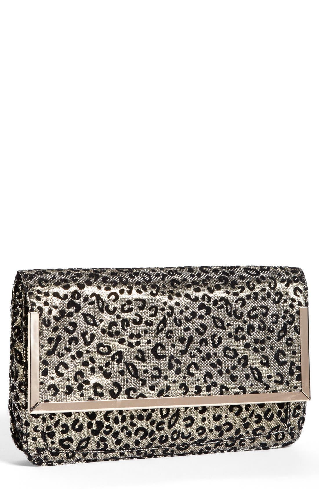 Alternate Image 1 Selected - Cesca Leopard Print Clutch (Juniors) (Online Only)
