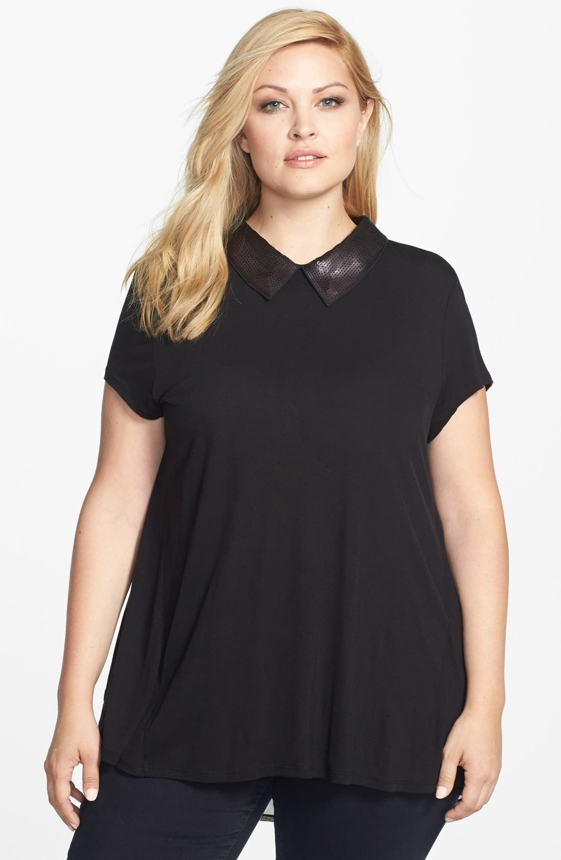 Main Image - Kische Embellished Collar Mixed Media Tee (Plus Size)