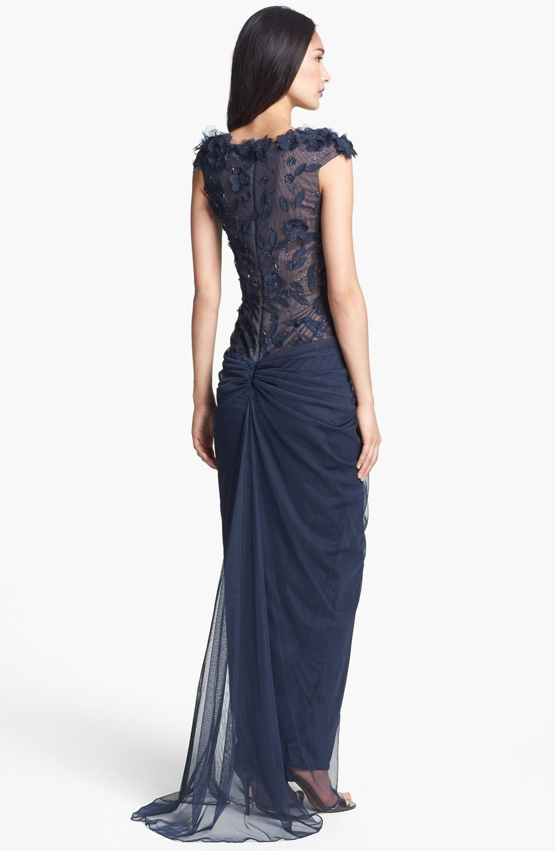 Alternate Image 2  - Tadashi Shoji Embellished V-Neck Tulle Gown