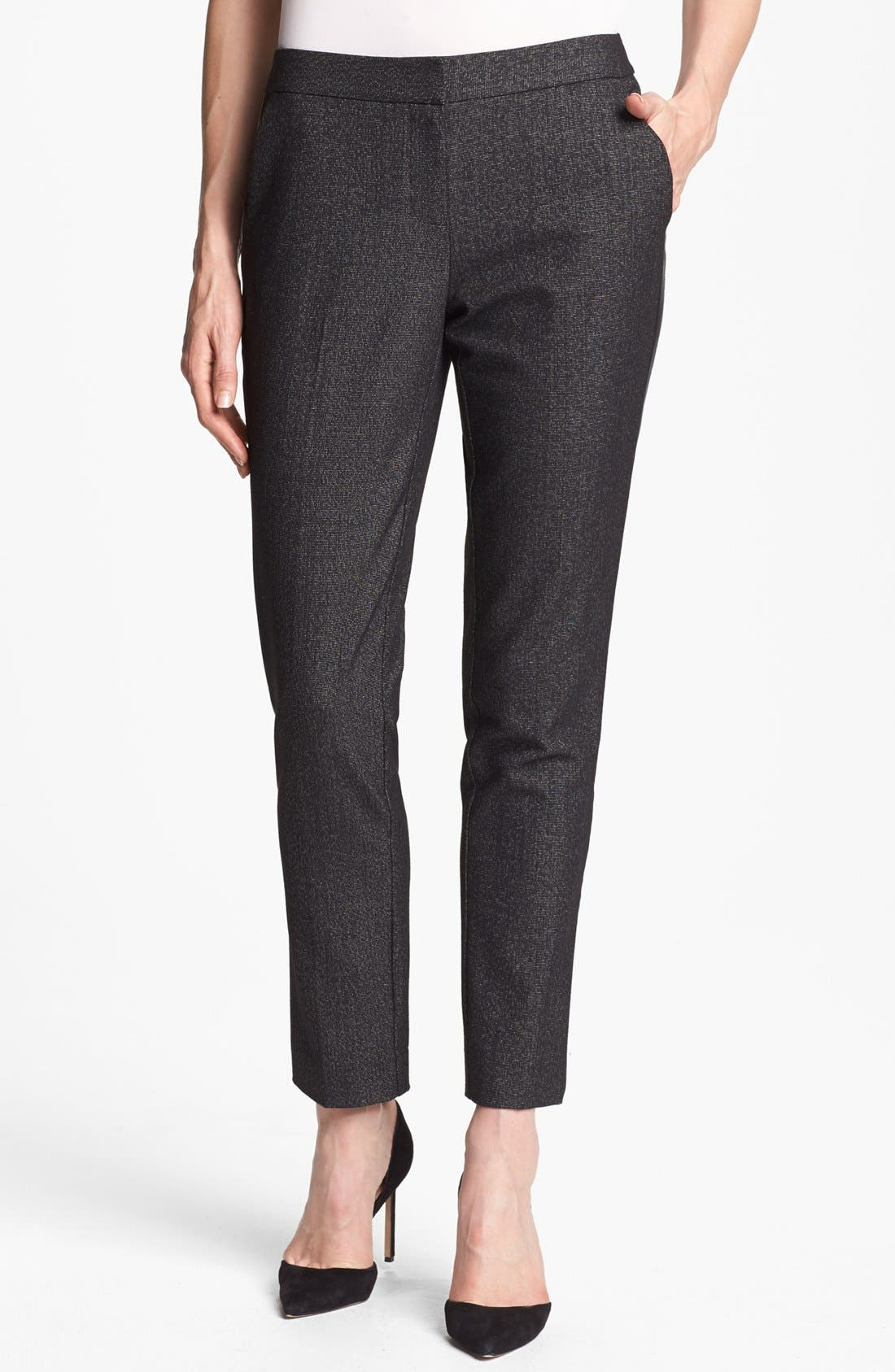 Main Image - Vince Camuto Faux Leather Tuxedo Stripe Pants (Petite)