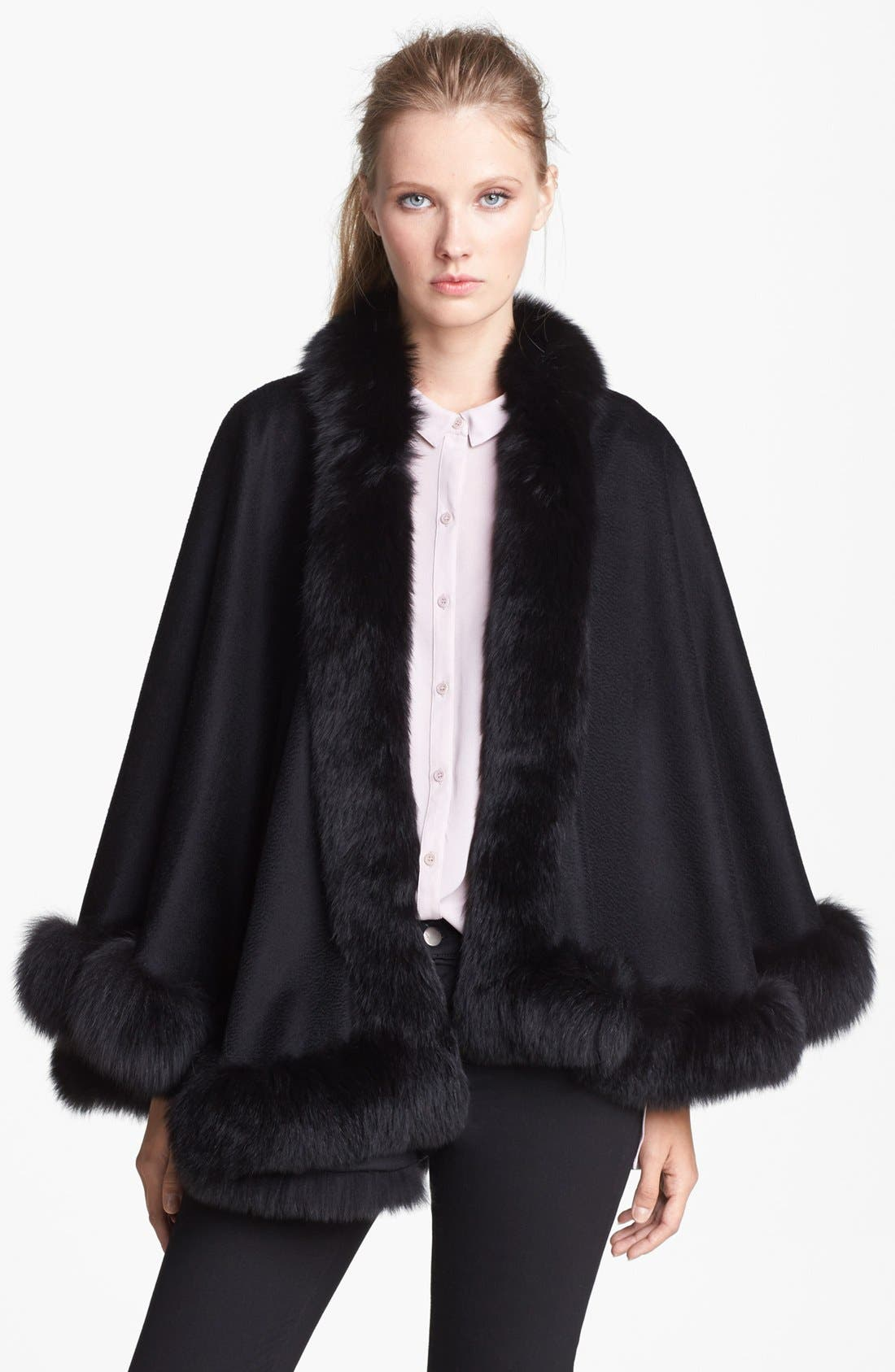 Sofia Cashmere Genuine Fox Fur Trim Short Cashmere Cape