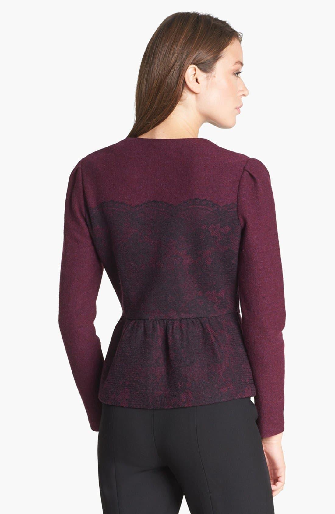 Alternate Image 2  - Classiques Entier® Merino & Lace Zip Cardigan