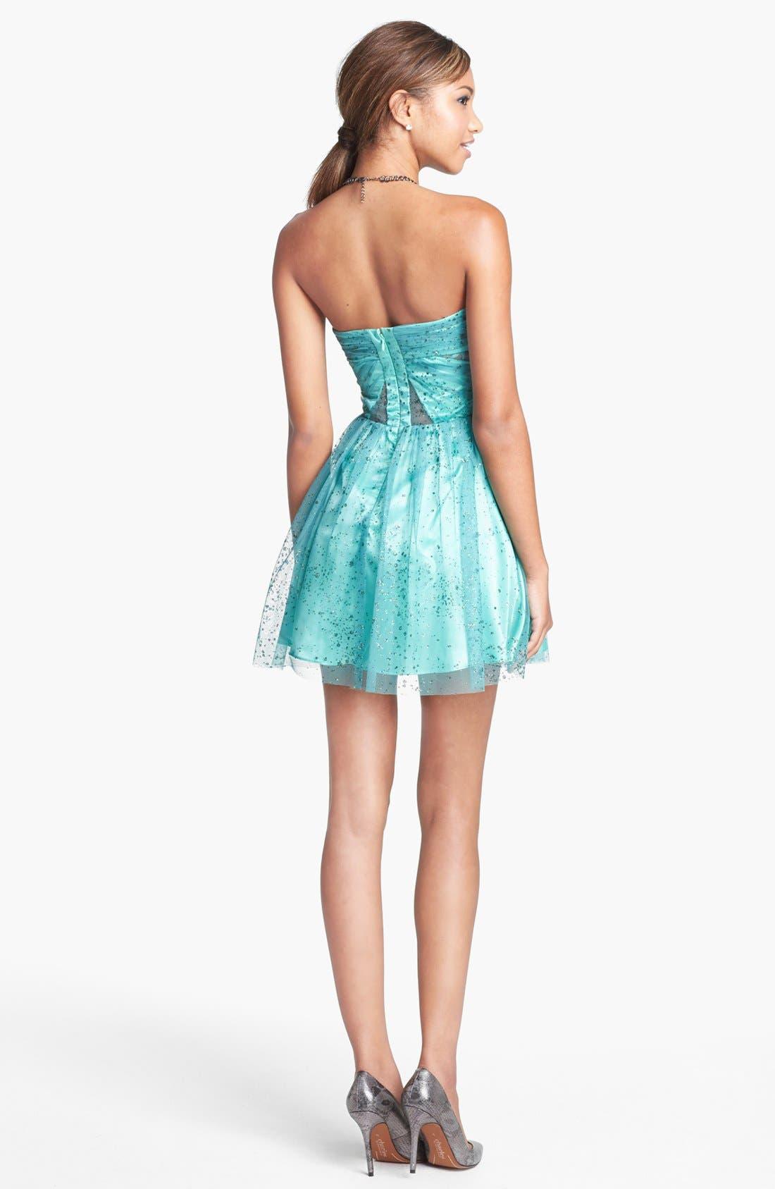 Alternate Image 2  - Hailey Logan Mesh Inset Glitter Chiffon Fit & Flare Dress (Juniors) (Online Only)