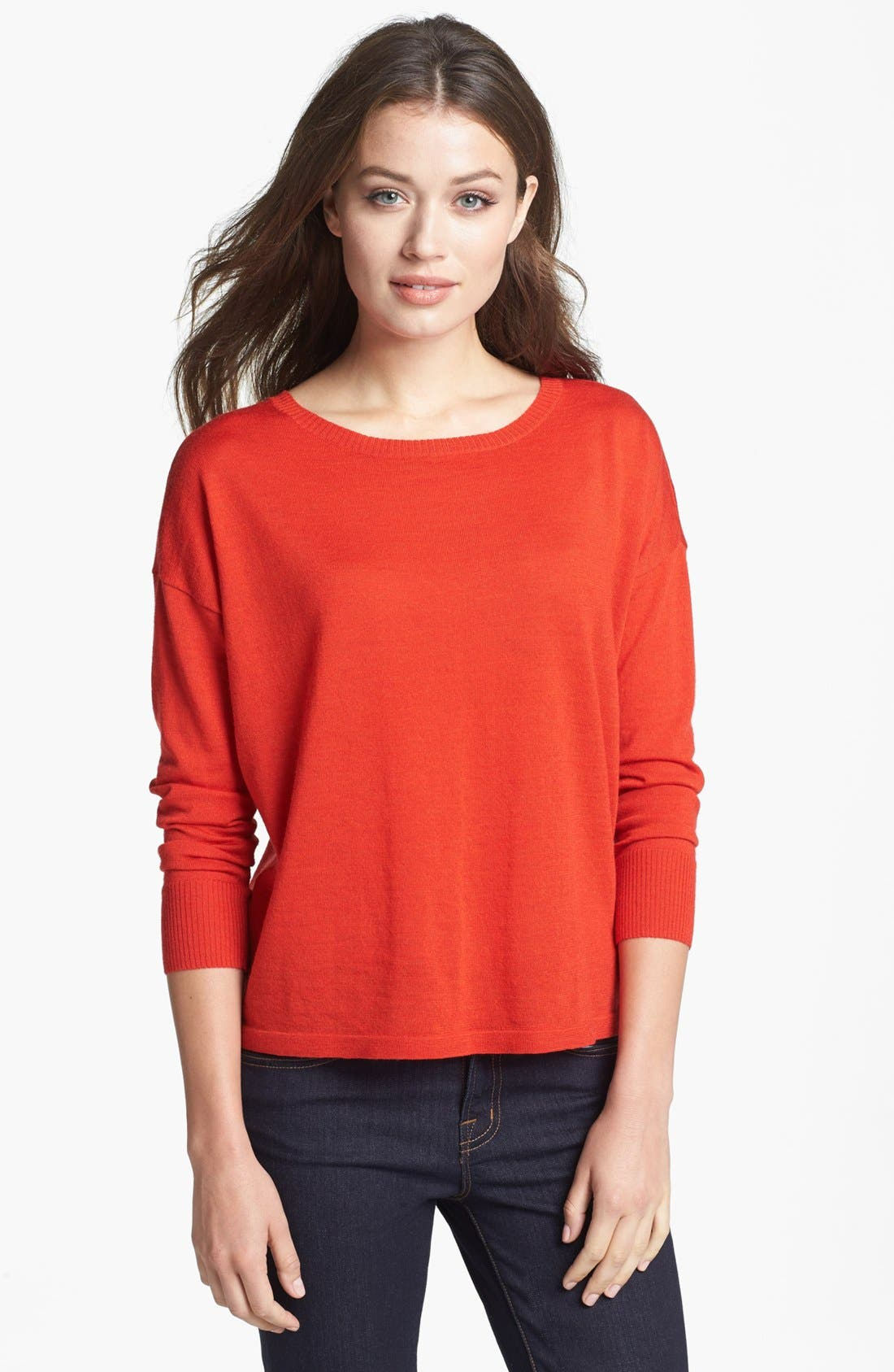 Alternate Image 1 Selected - Eileen Fisher Fine Merino Jersey Boatneck Top