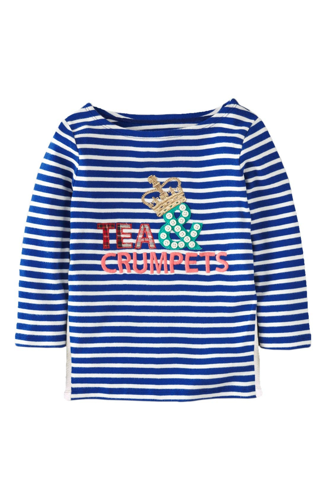 Main Image - Mini Boden 'Stripe Appliqué' Boatneck Tee (Little Girls & Big Girls)